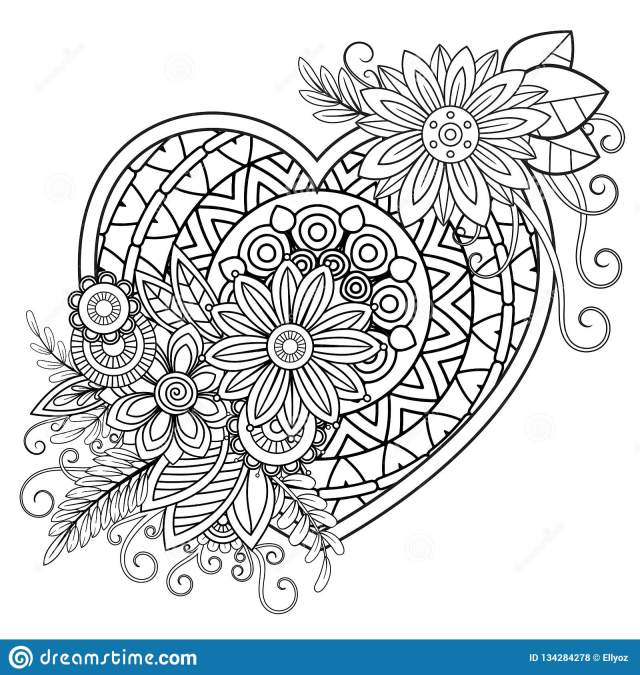 Valentines Day Coloring Page Stock Vector - Illustration of