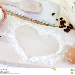 Kitchen Food Preparation Table How To Build Cabinet Doors Heart Of The Flour Baking Background Stock Image - ...