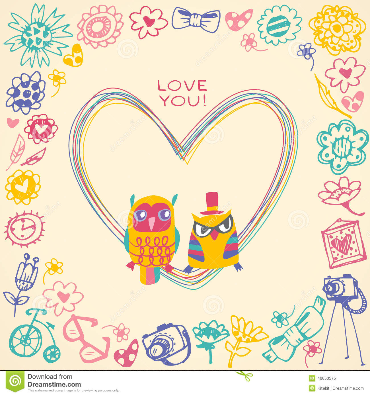 Heart Frame Owls Cute Gift Card And Sample Text Stock