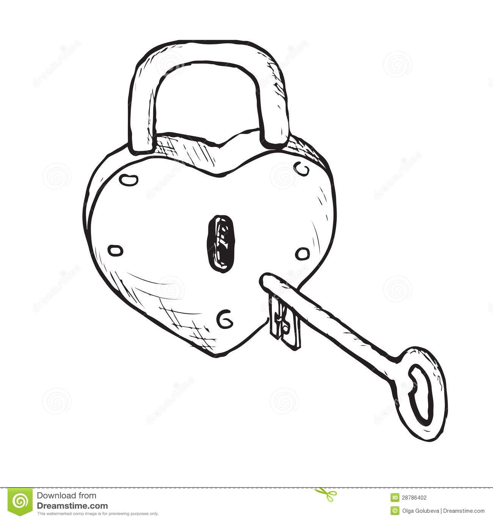 Heart Lock Hand Drawn Stock Photography