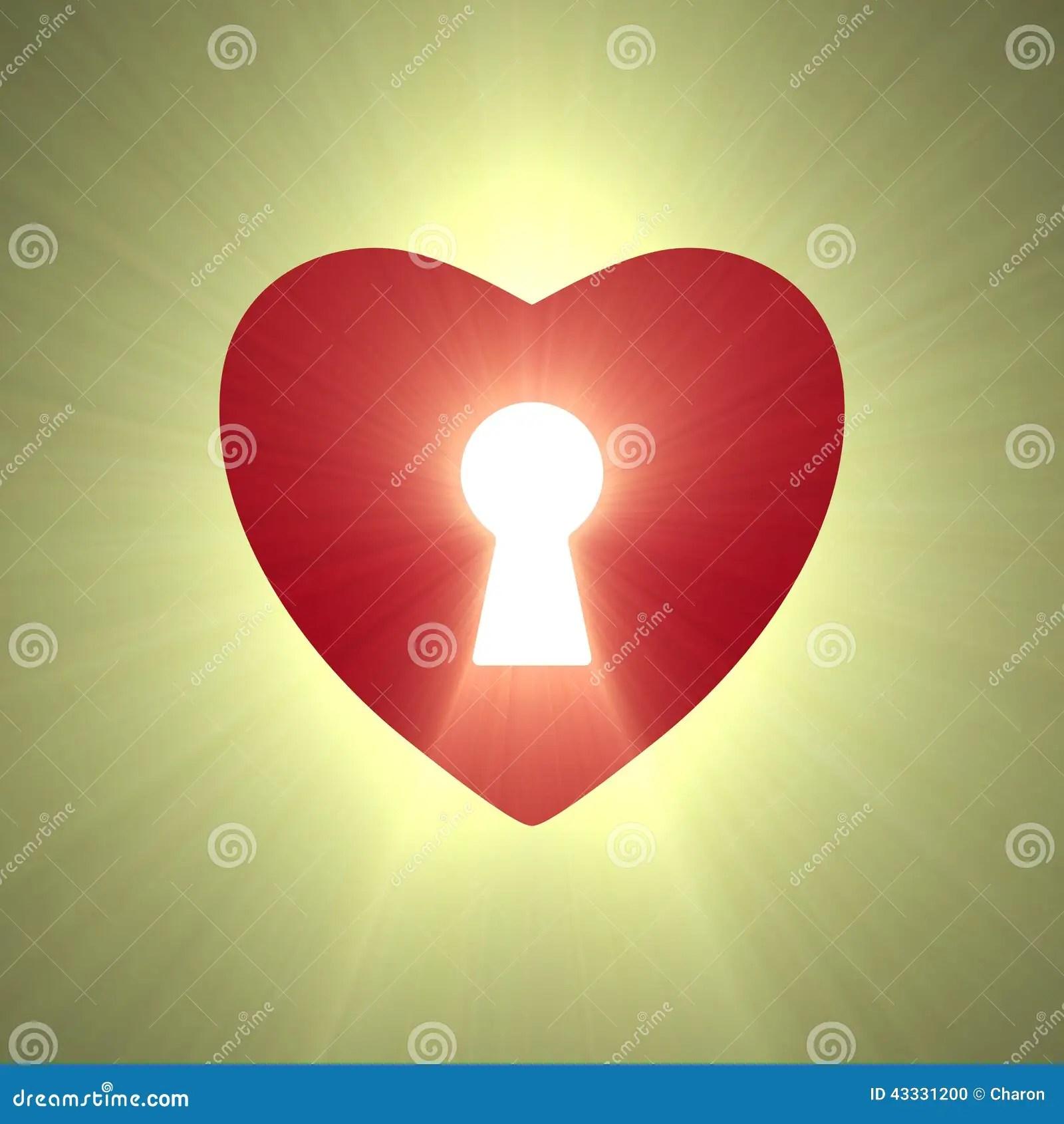 Heart Lock Keyhole Symbol Light Flare Stock Illustration