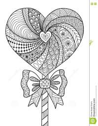 Heart Lollipop Line Art Design For Coloring Book For Adult ...
