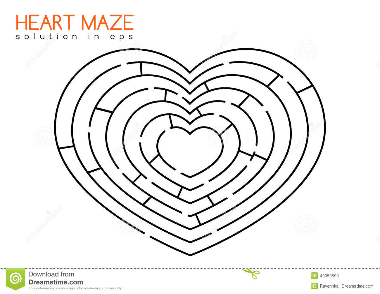 Heart Maze With Solution Stock Vector Illustration Of