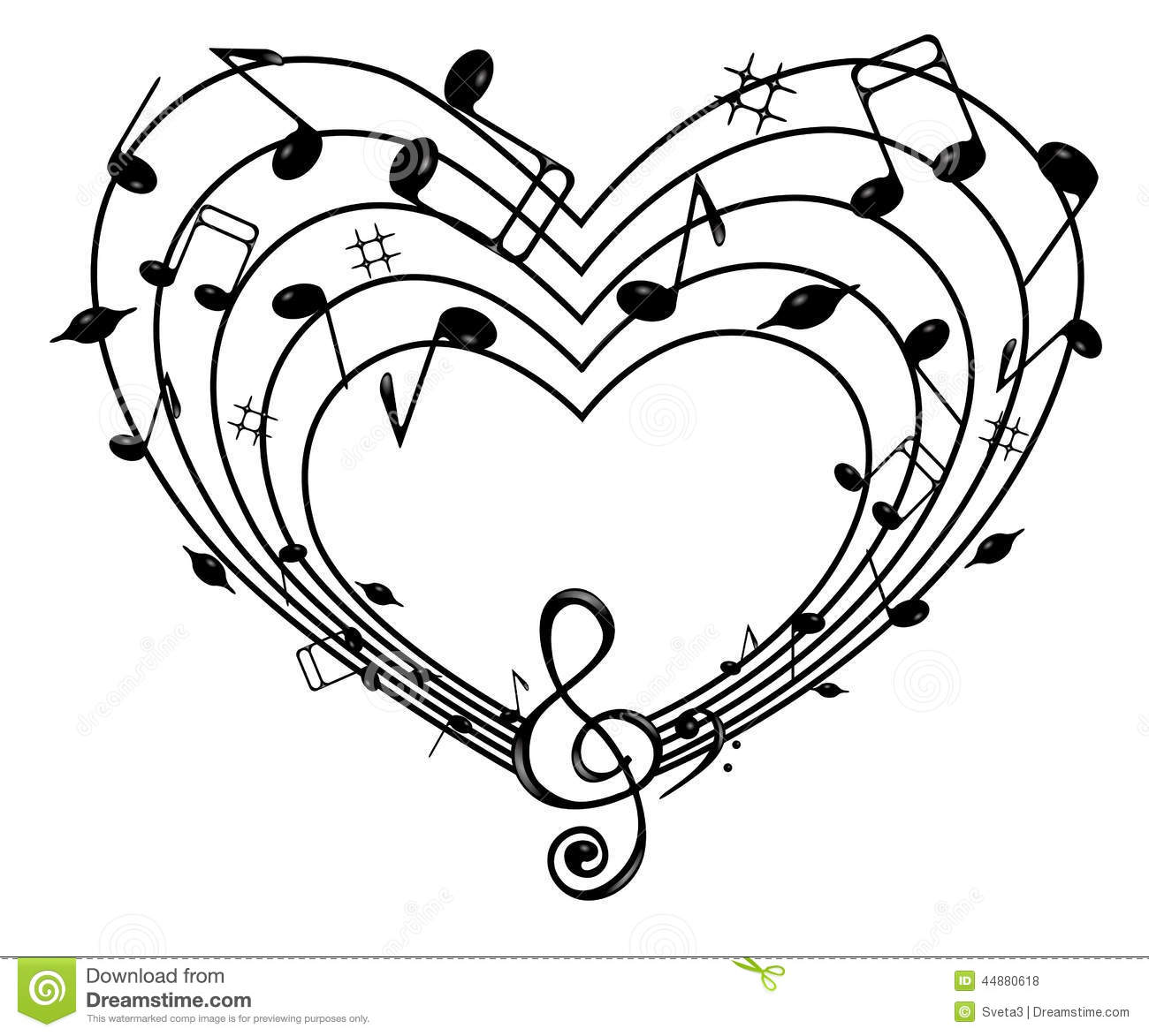Heart Of The Music Stock Vector Illustration Of Note