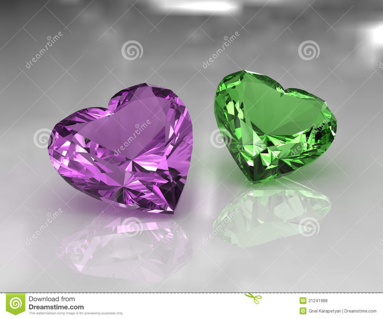 Heart Shape Lavender And Green Amethyst Stones Stock