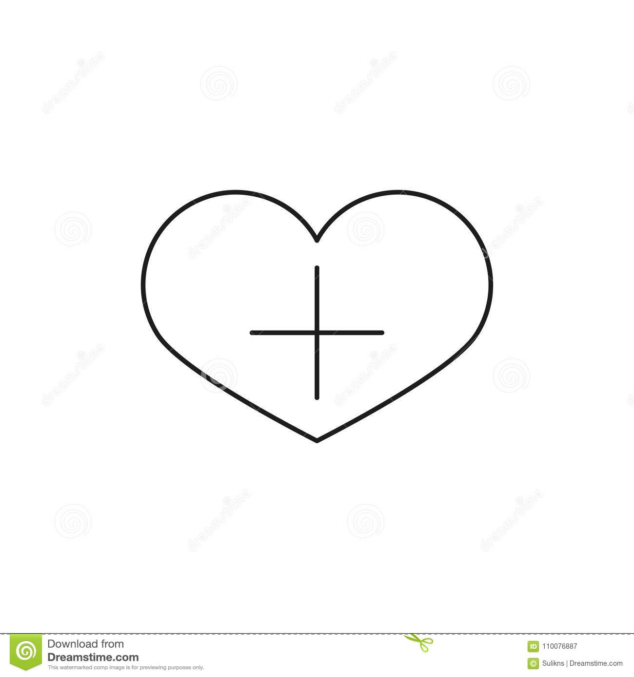 Heart Shape With Plus Sign Linear Icon Add To Favorites