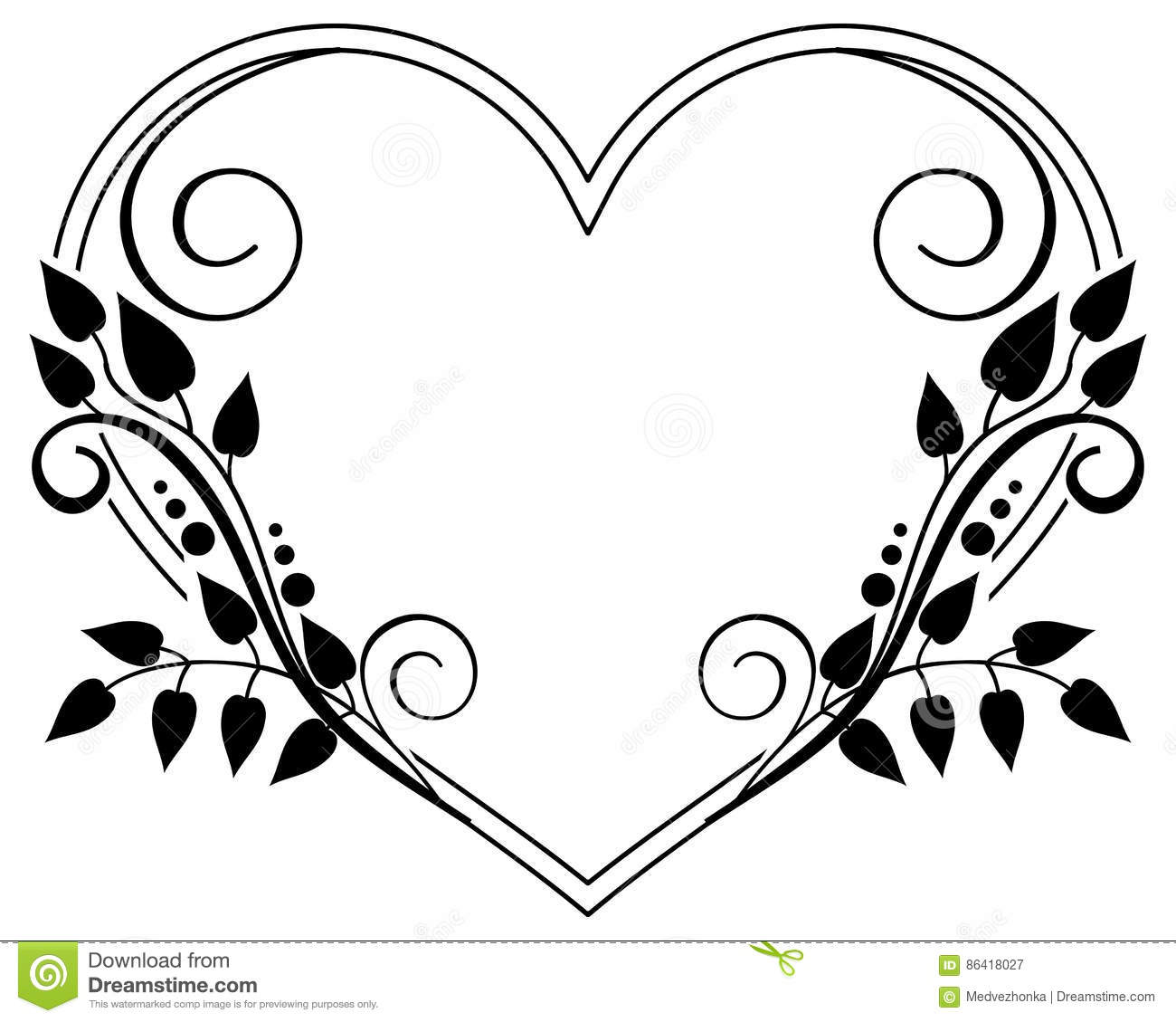 Heart Shaped Black And White Frame With Floral Silhouettes