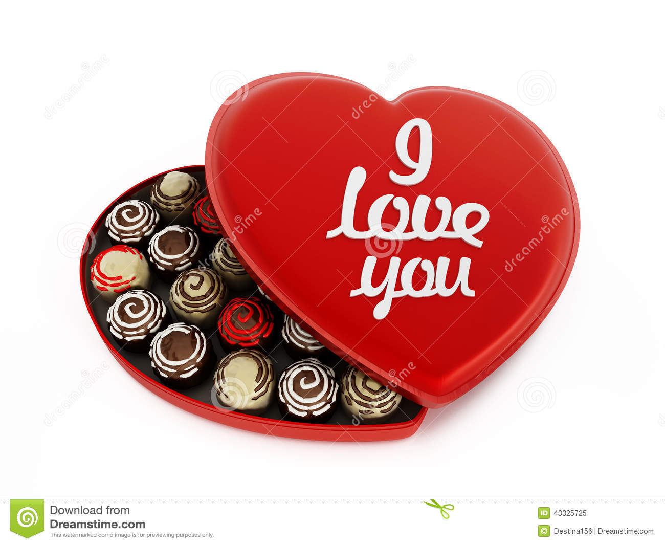 Heart Shaped Chocolate Box With I Love You Text Stock