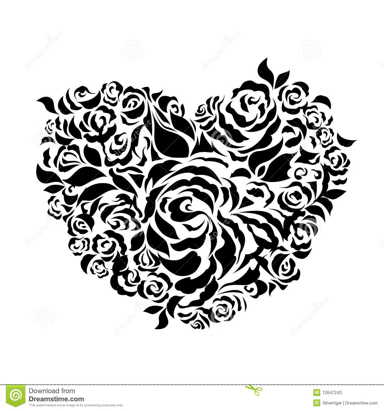 Heart Shaped Roses Petals Silhouette Stock Vector