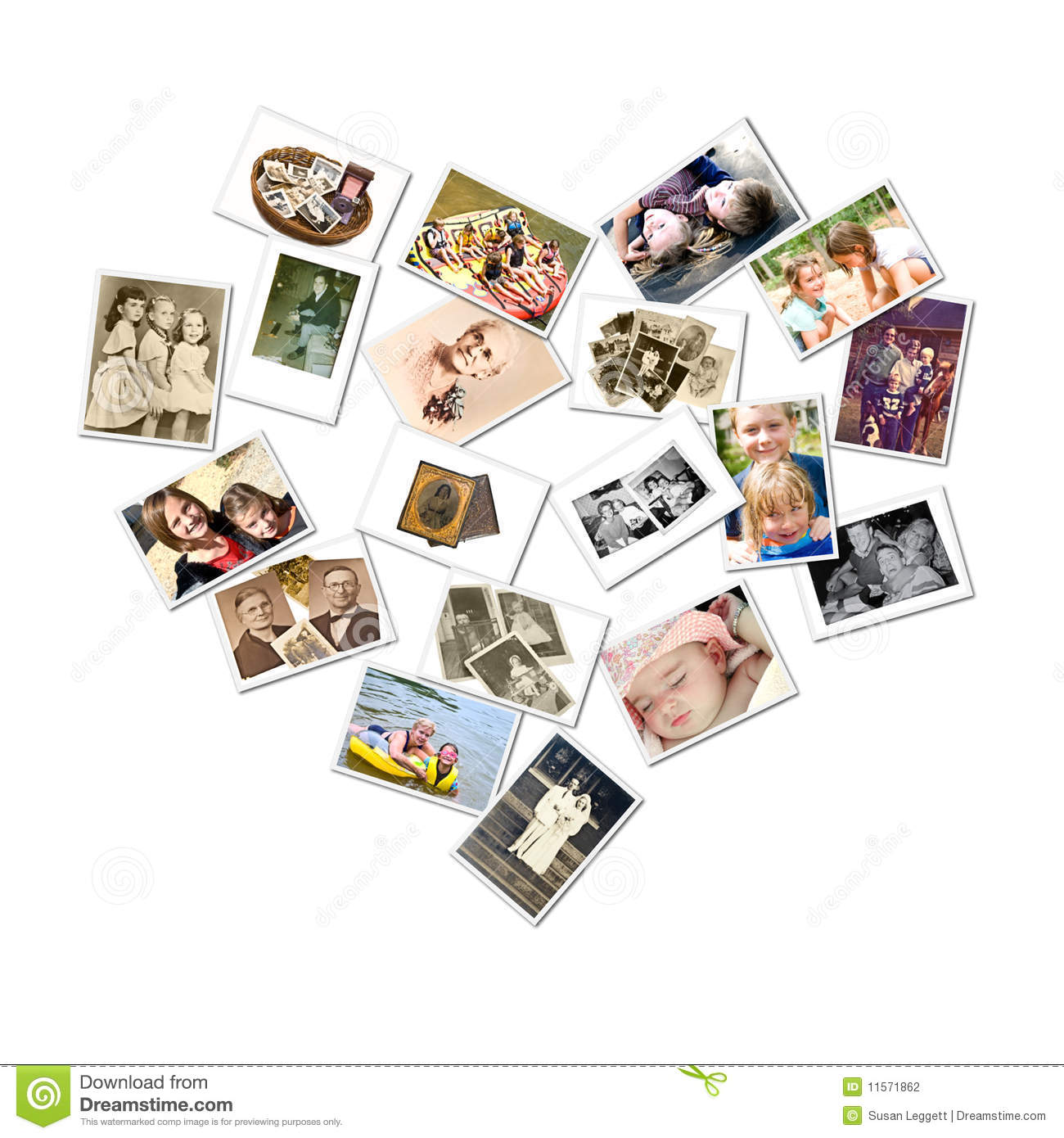 Heart Style Collage Family Photos Stock Photography