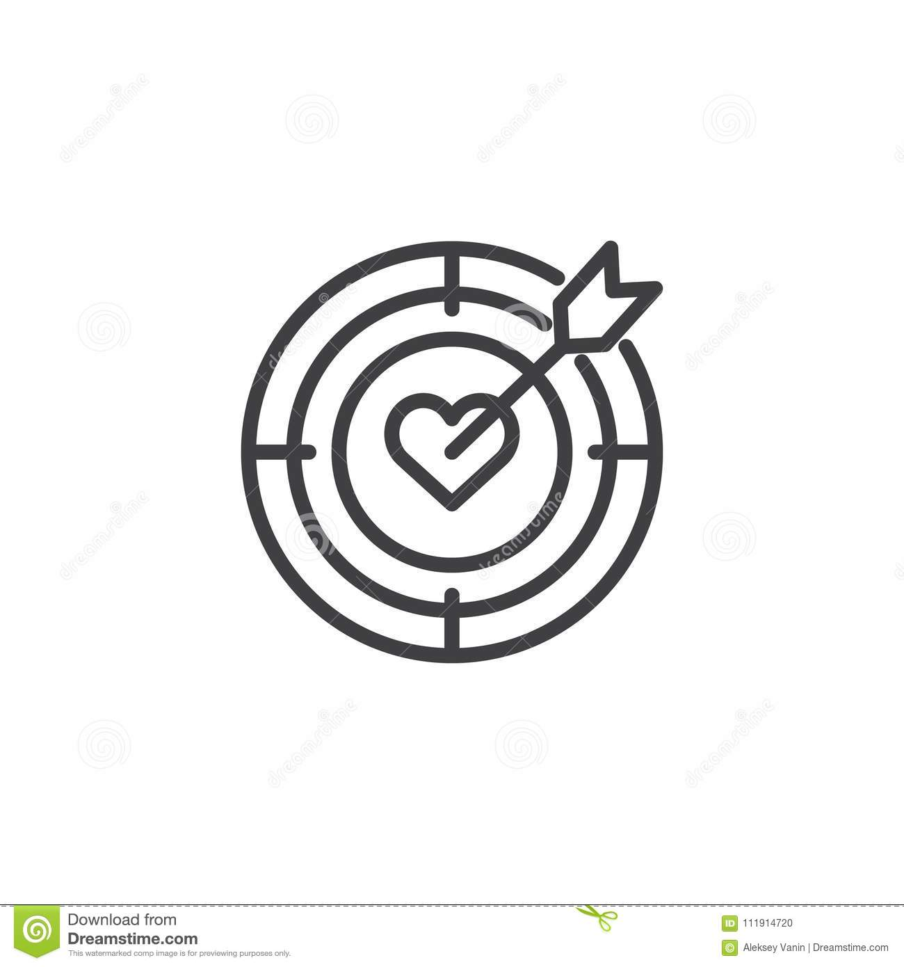 Target Money Line Icon Aim Outline Vector Logo Linear
