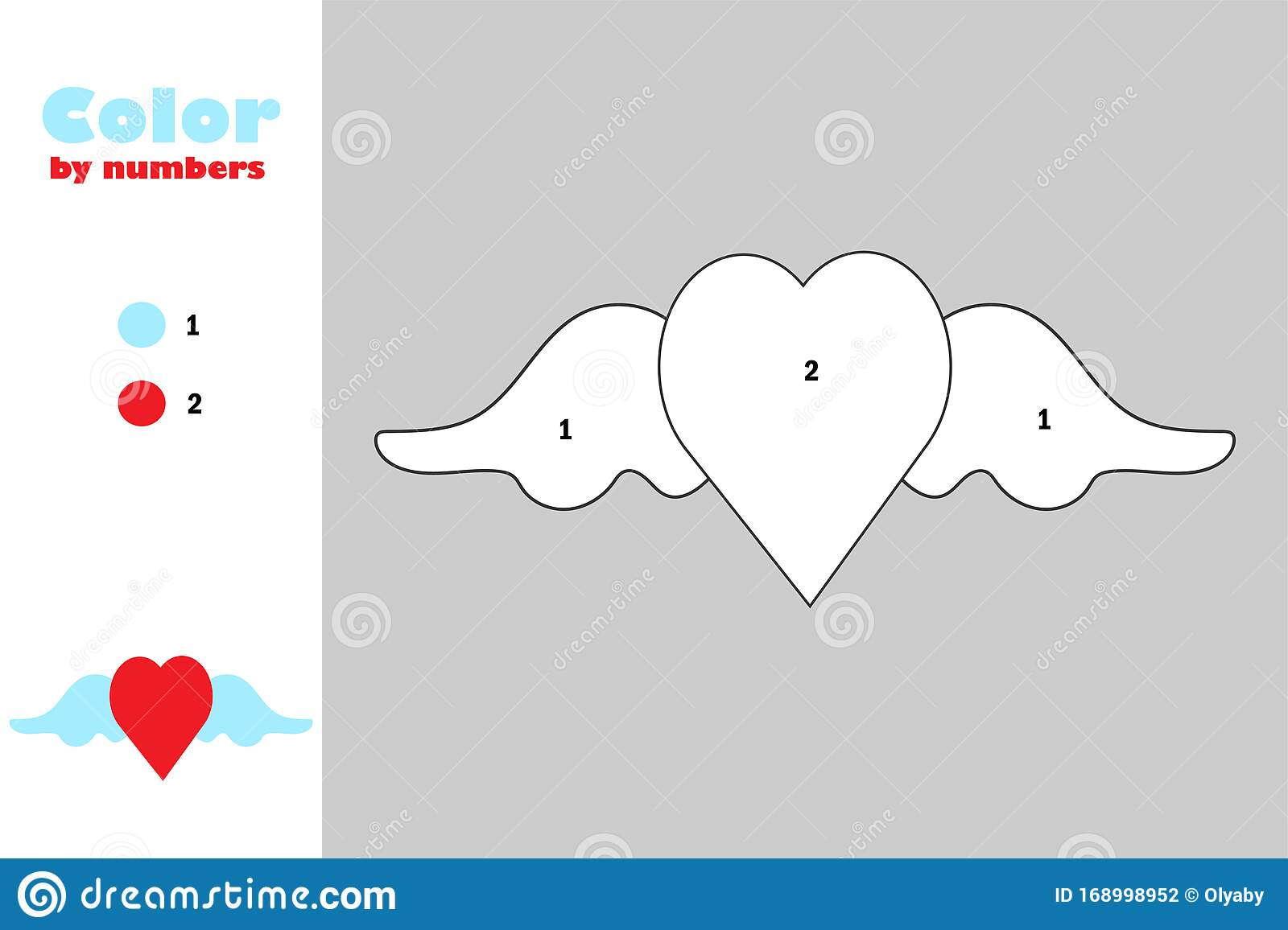 Heart With Wings In Cartoon Style Color By Number