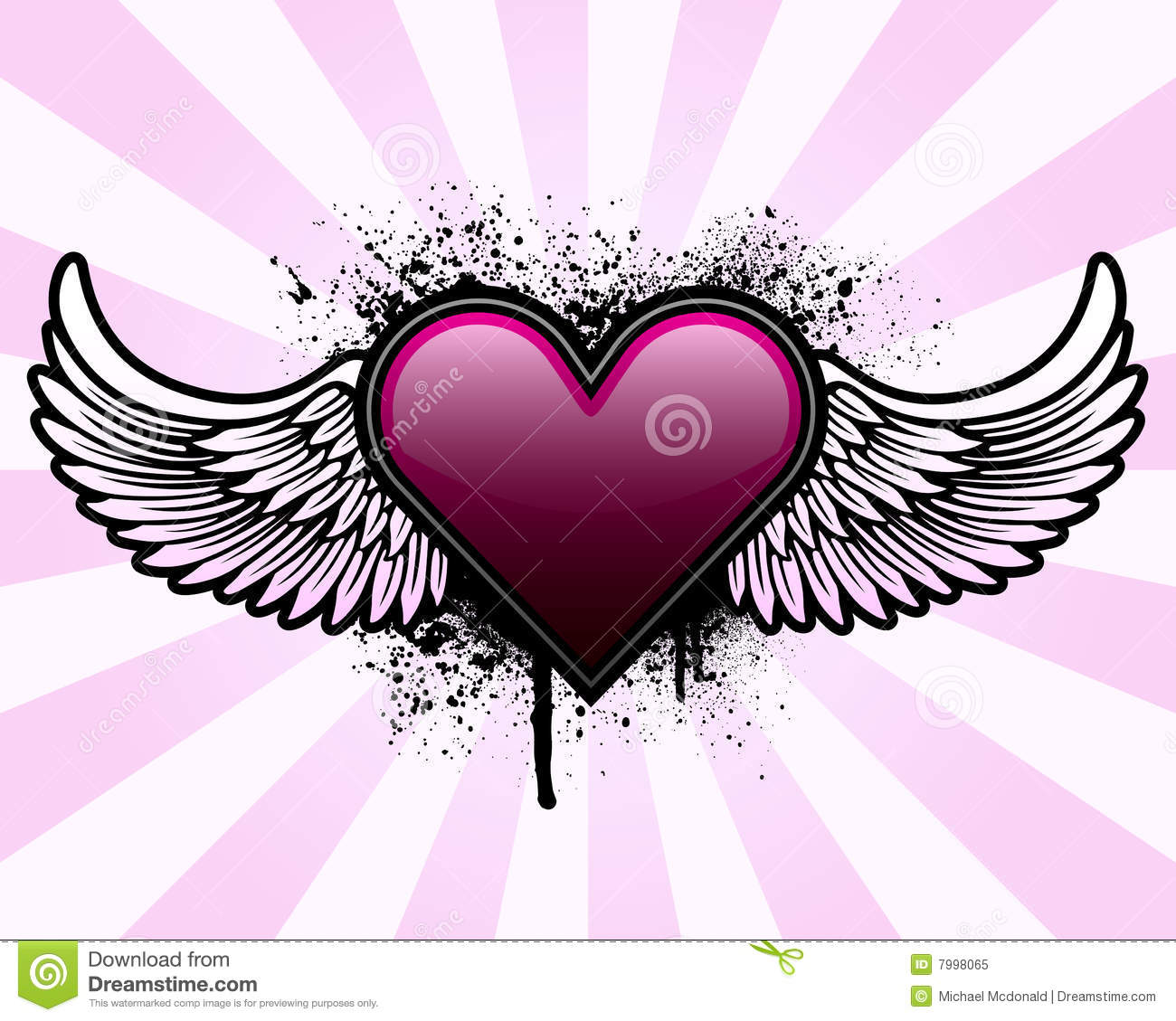 Heart With Wings And Grunge Background Royalty Free Stock