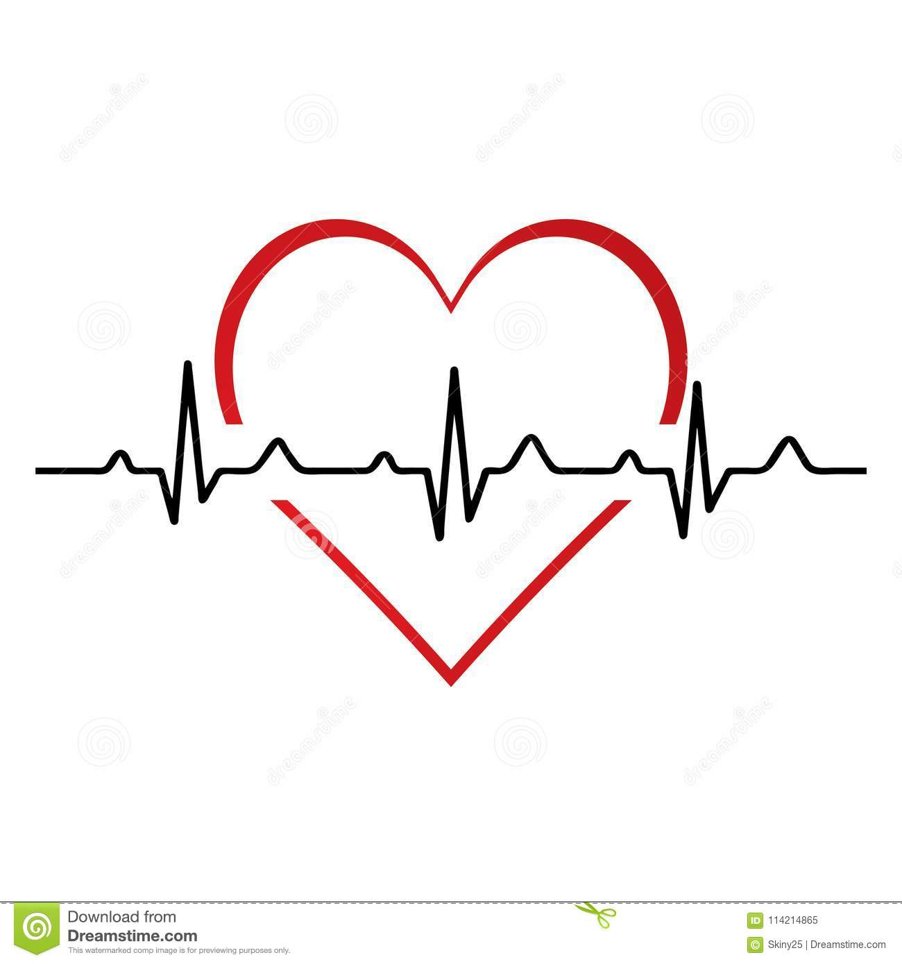 Heartbeat Heart Beat Pulse Flat Icon For Medical Stock