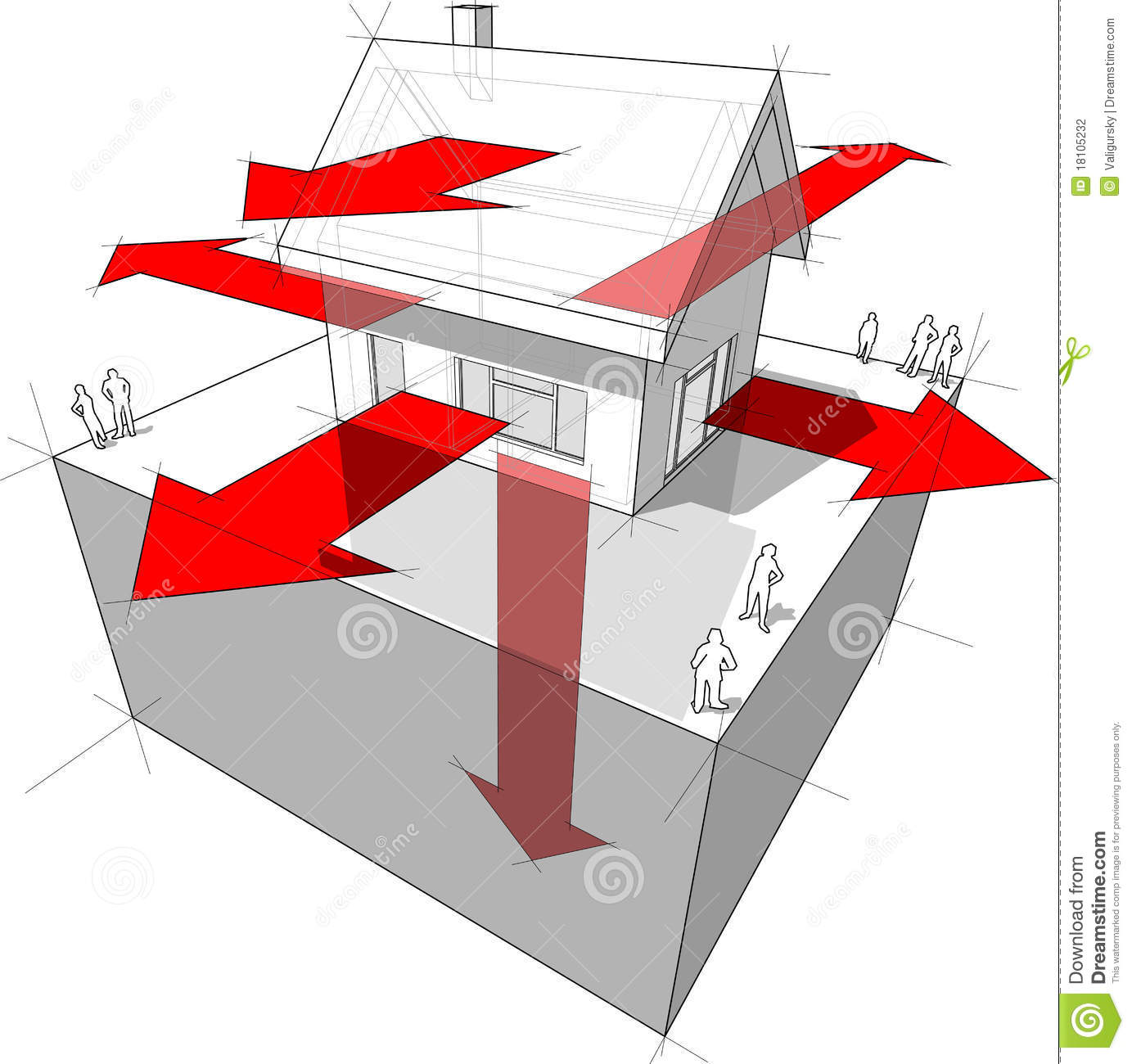 house insulation diagram dual battery wiring 4x4 heat loss stock illustration of