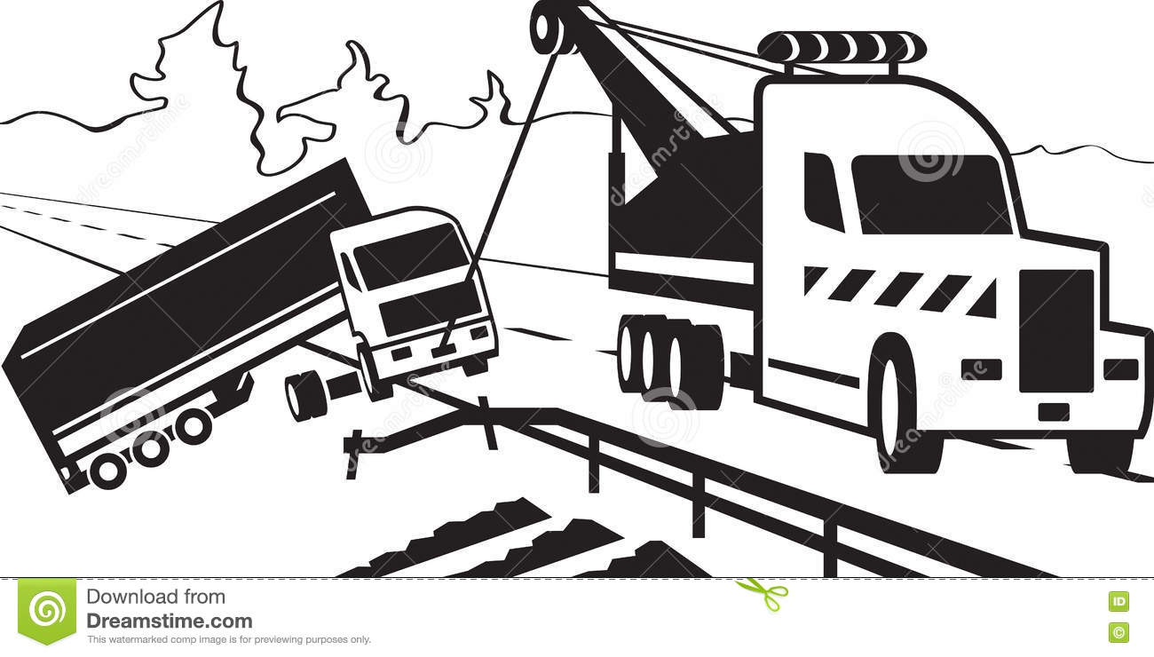 Heavy duty tow truck stock vector. Illustration of service