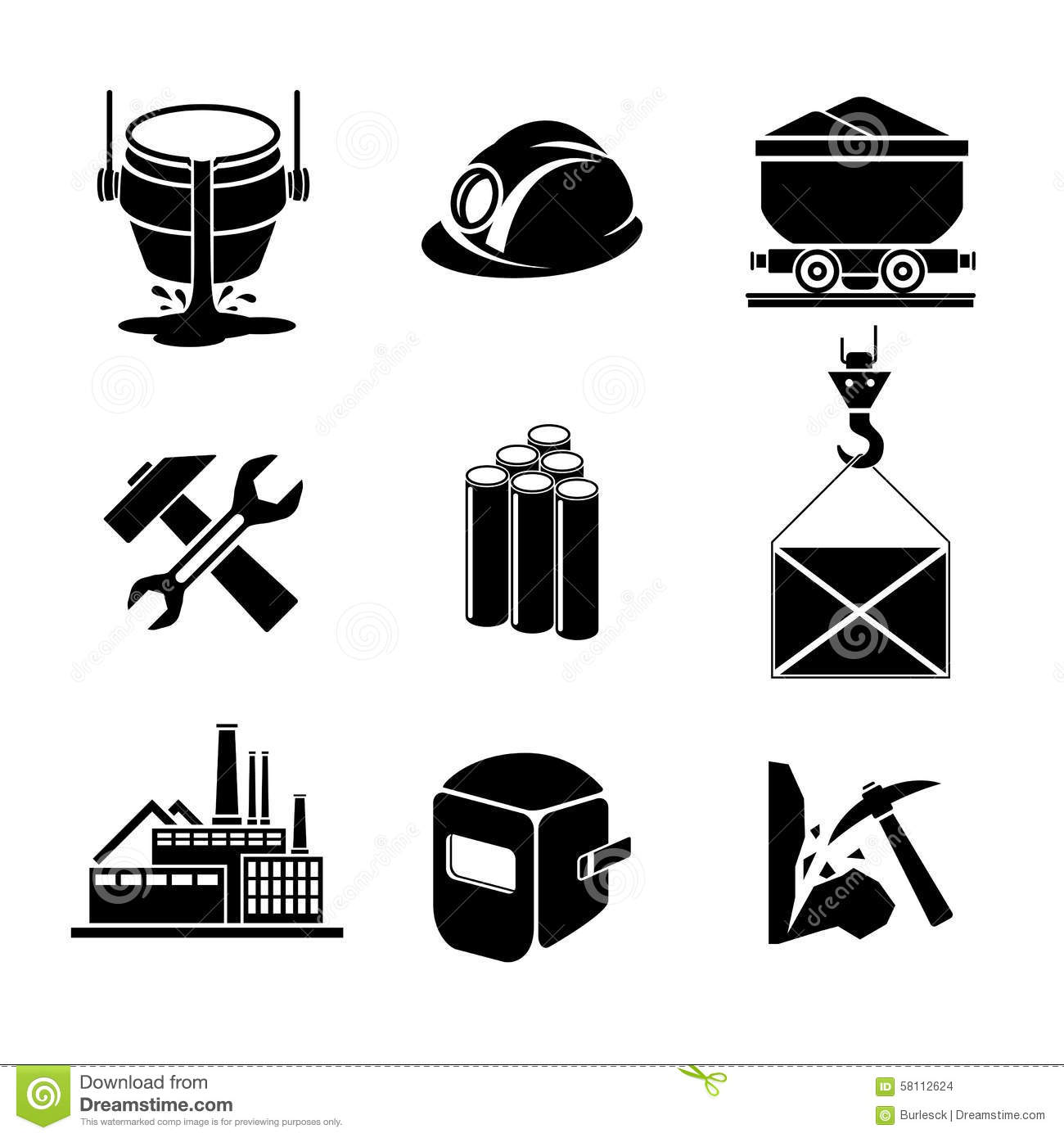 Heavy Industry Or Metallurgy Icons Set Stock Vector