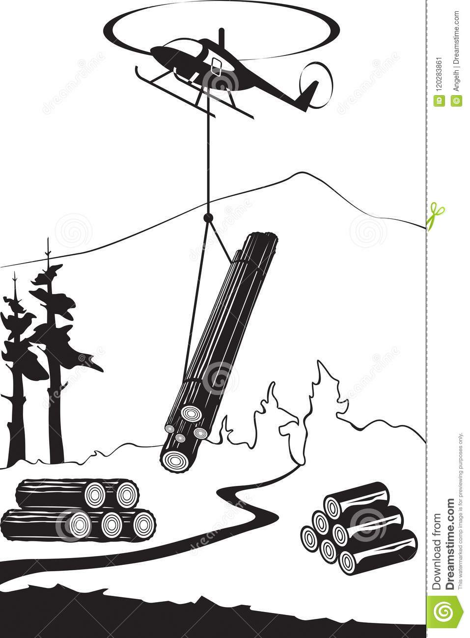Helicopter Carry Wood Timbers In The Forest Stock Vector