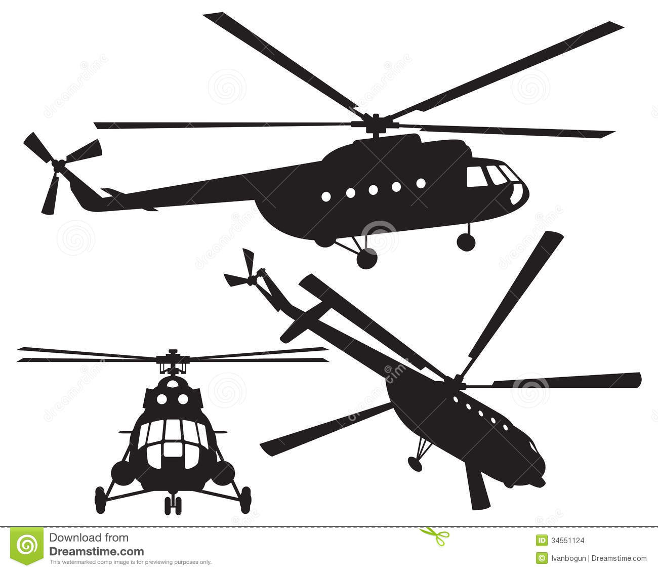 Helicopter Silhouette. Vector Illustration Stock Vector