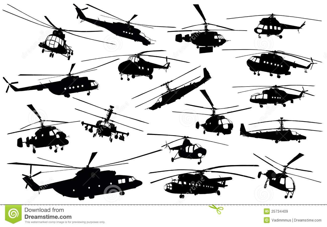 Helicopter silhouettes stock vector. Illustration of