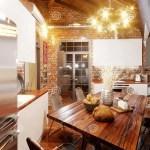 Helle Und Gemutliche Kuche In Der Dachbodenart Auf Dachboden Stock Abbildung Illustration Von Helle Kuche 84571268