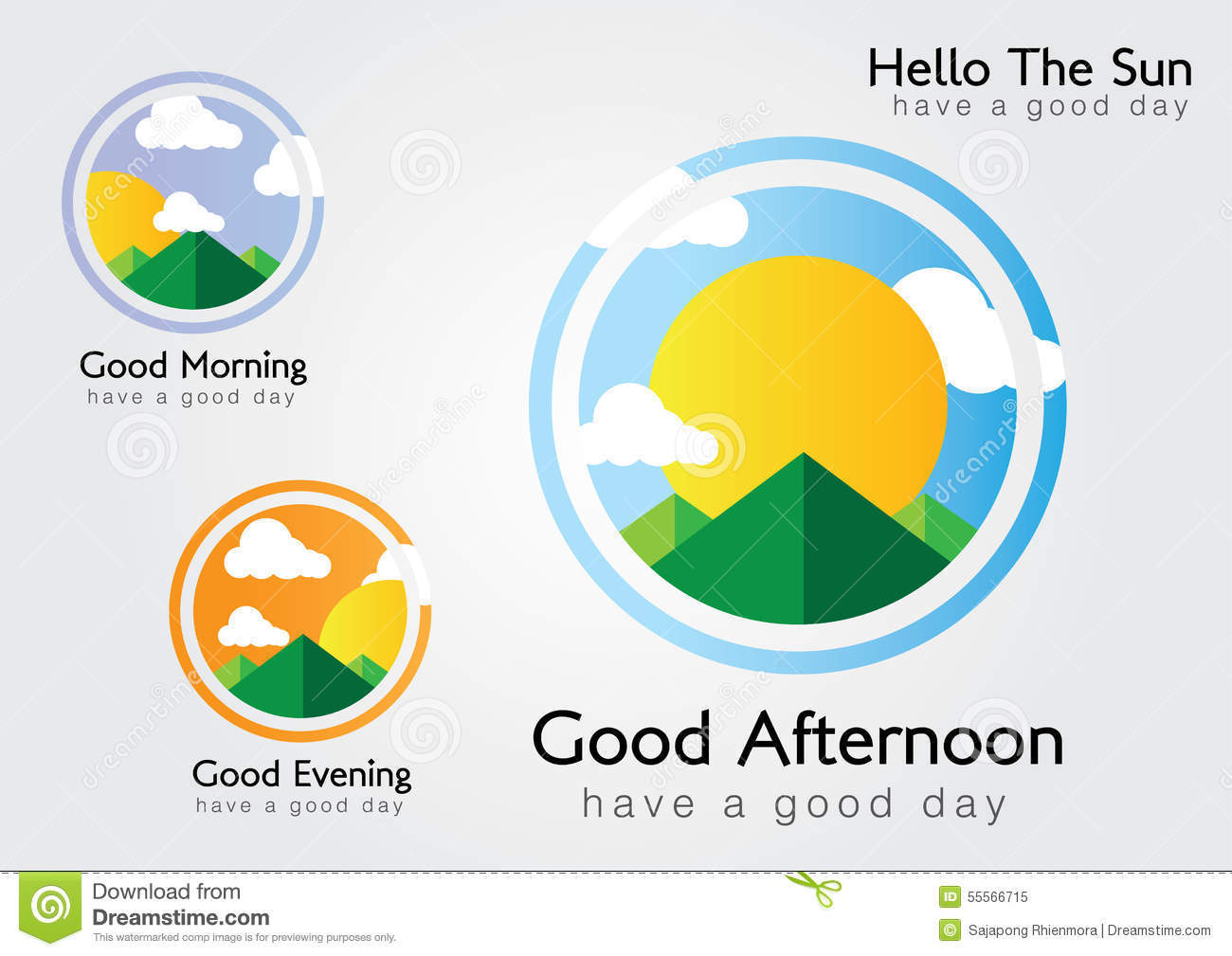 Hello The Sun We Have A Good Day Stock Vector