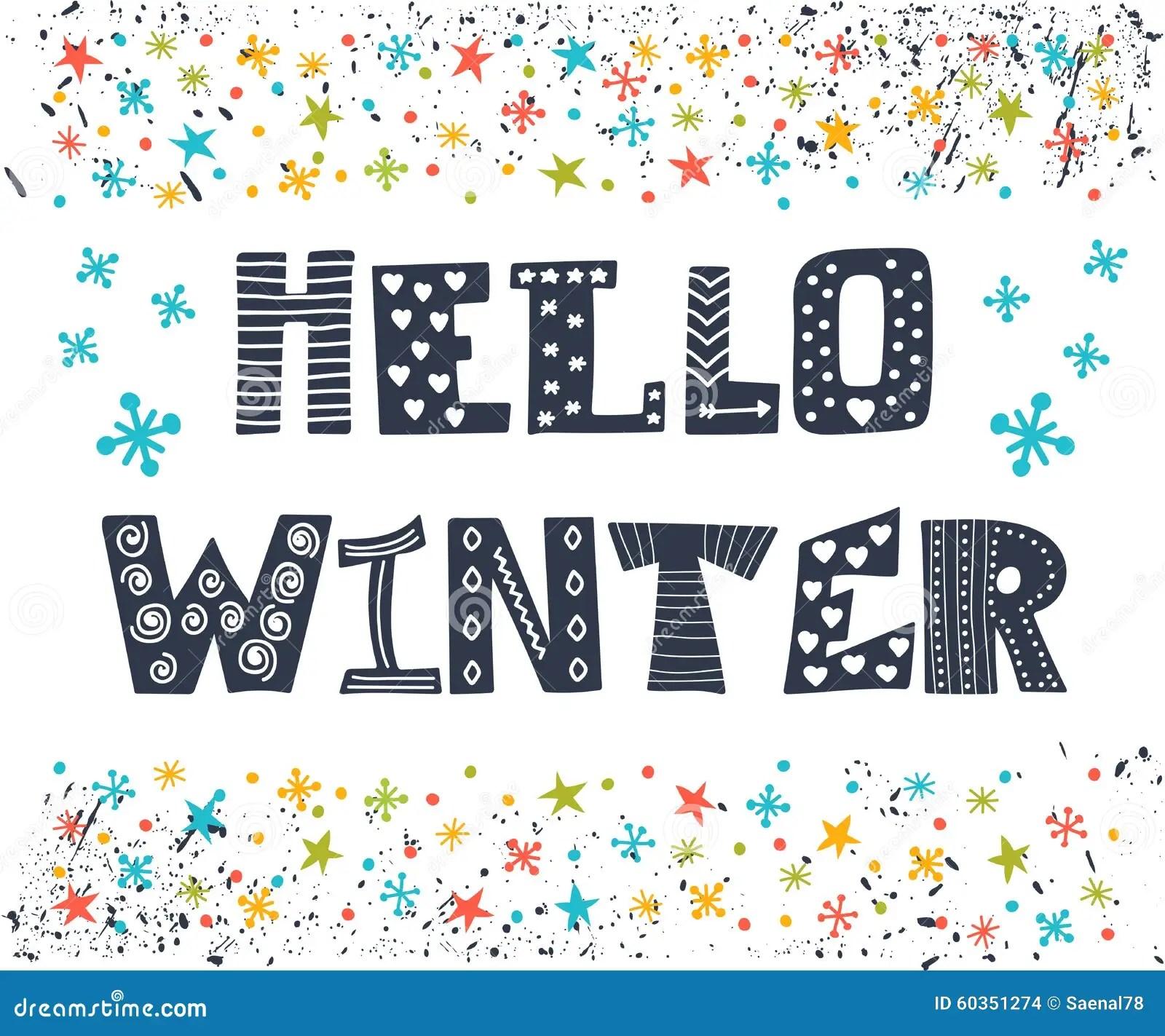 Hello Winter Greeting Card Winter Concept Card Cute