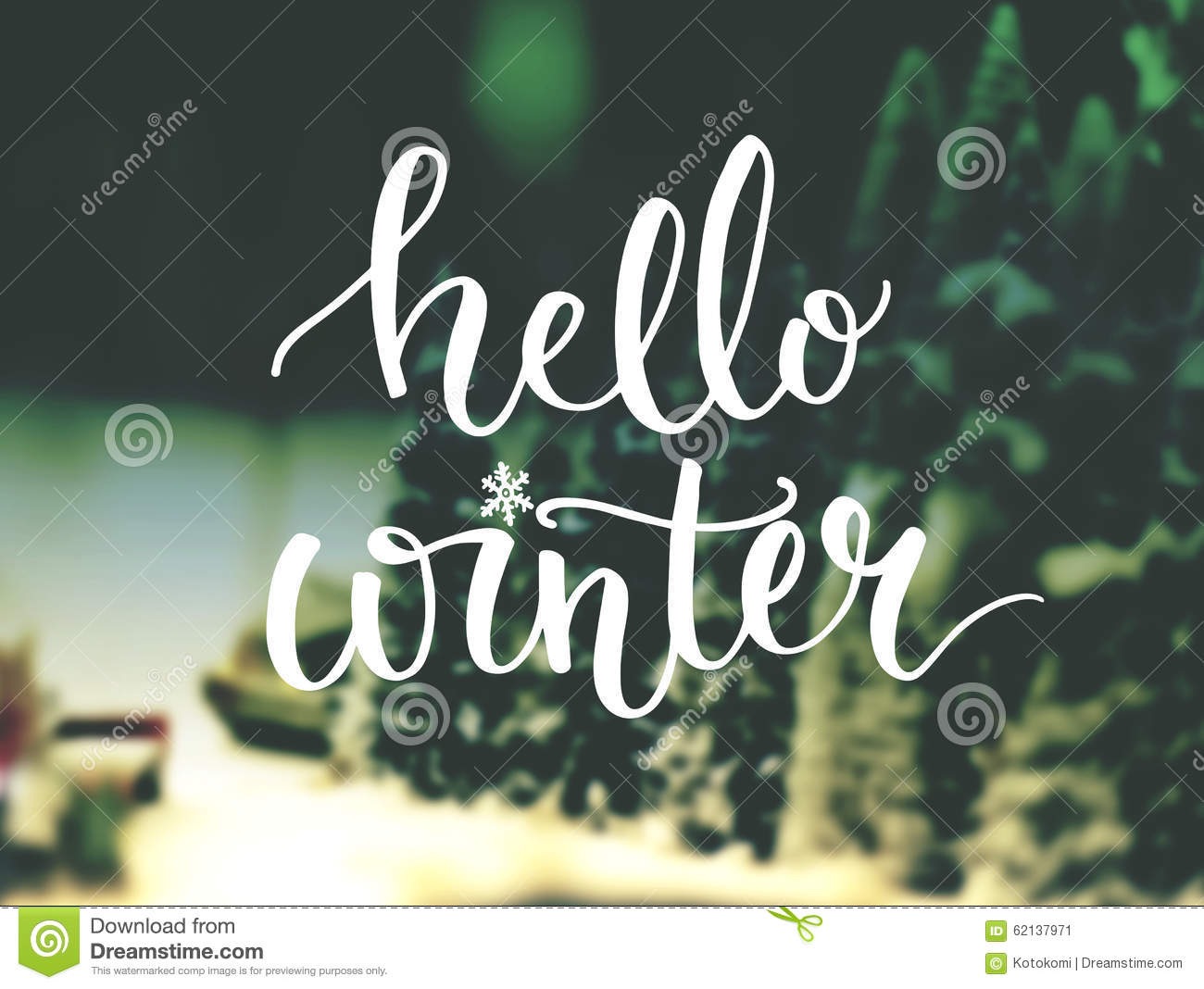 Hello Winter Typography Overlay On Blurred Photo Stock