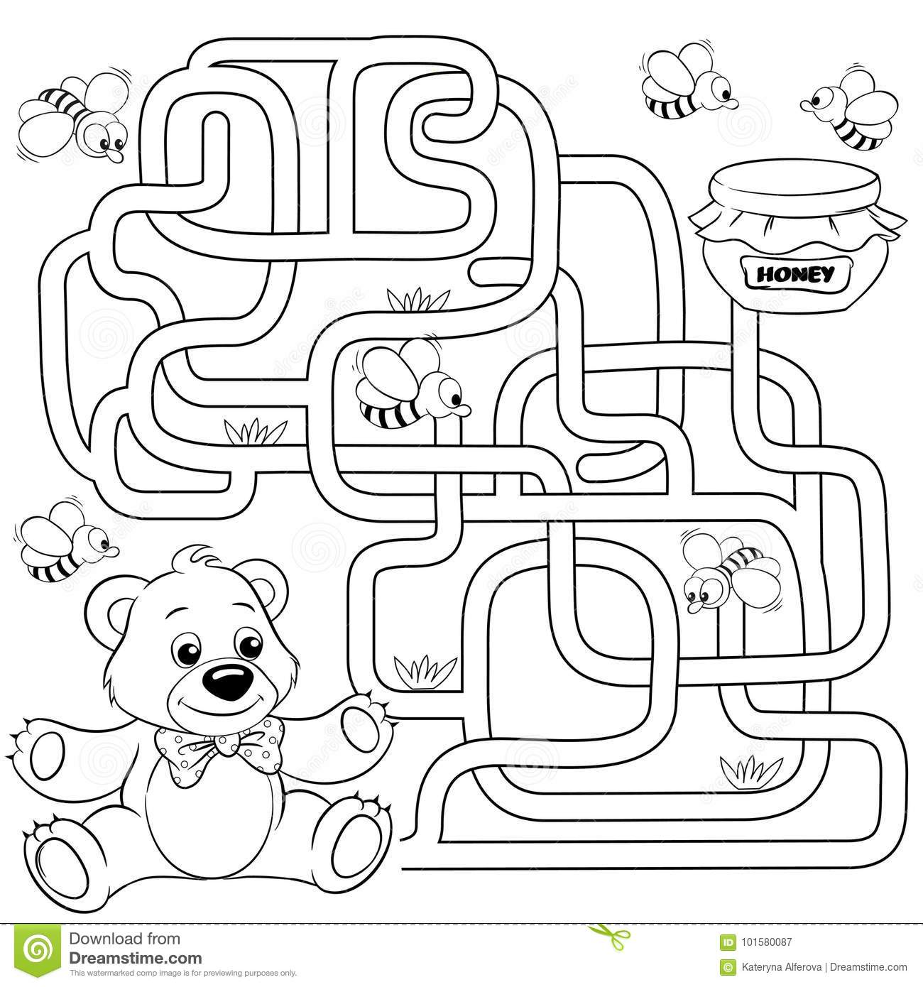 Help Bear Find Path To Honey. Labyrinth. Maze Game For