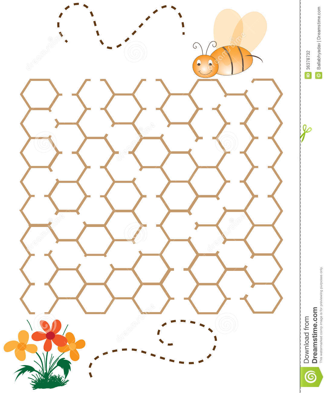 Children Puzzle Game Help The Bee Stock Photography