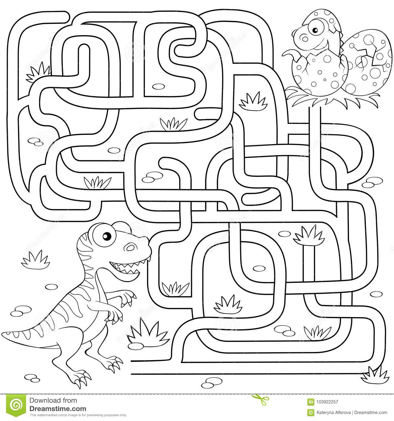 Help Dinosaur Find Path To Nest Labyrinth Maze Game For