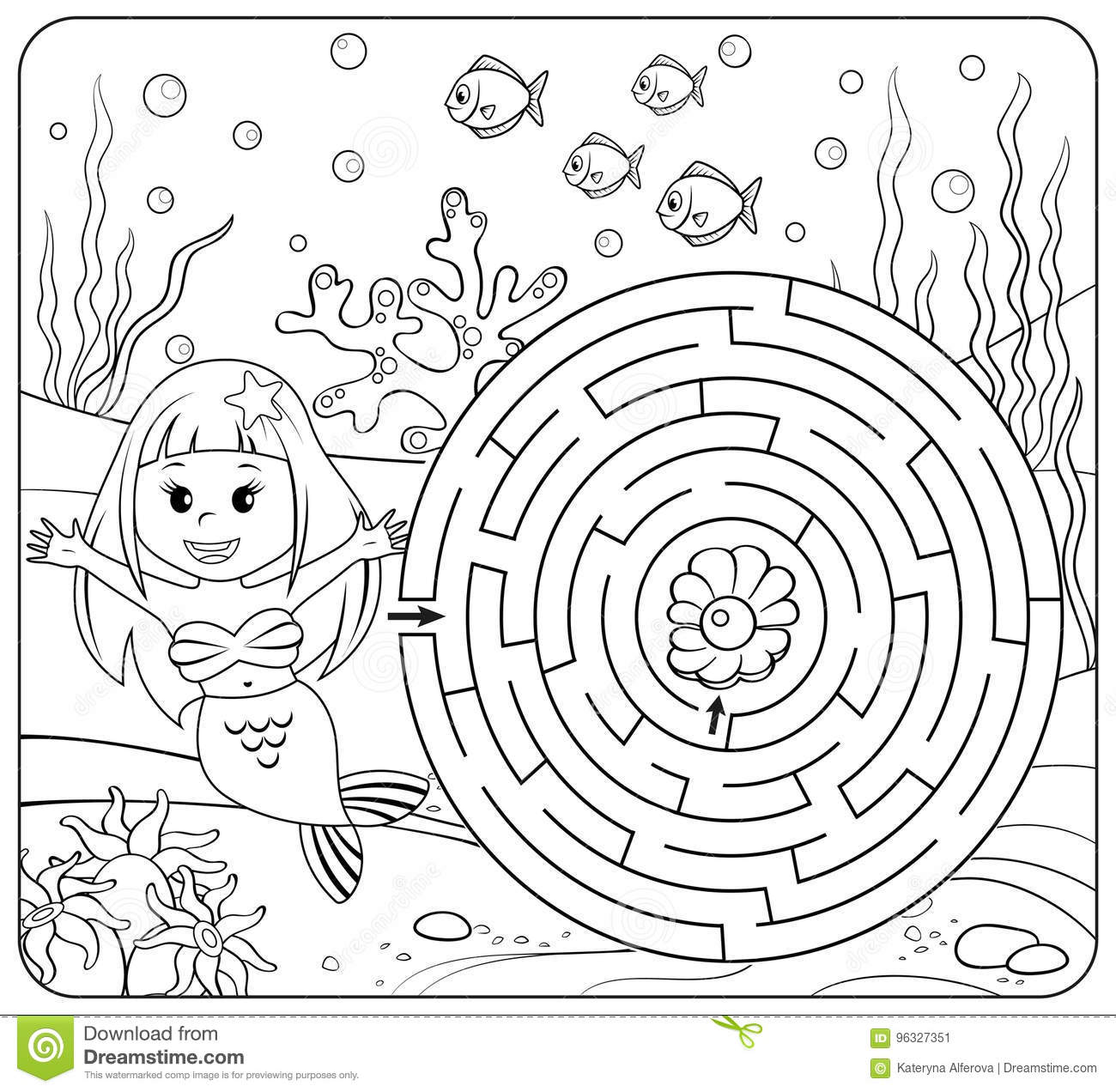 Help Mermaid Find Path To Pearl. Labyrinth. Maze Game For