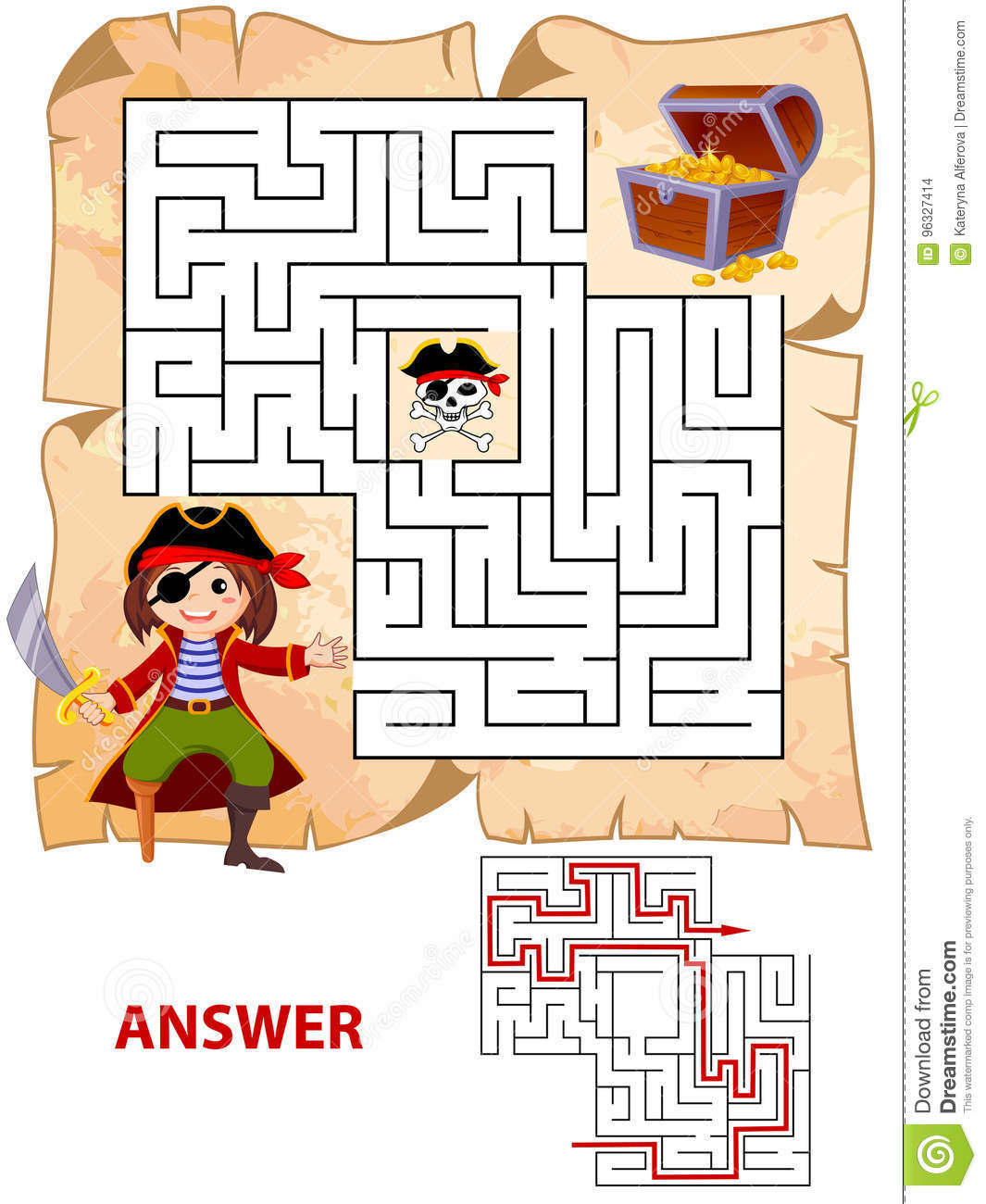 Help Pirate Find Path To Treasure Chest Labyrinth Maze