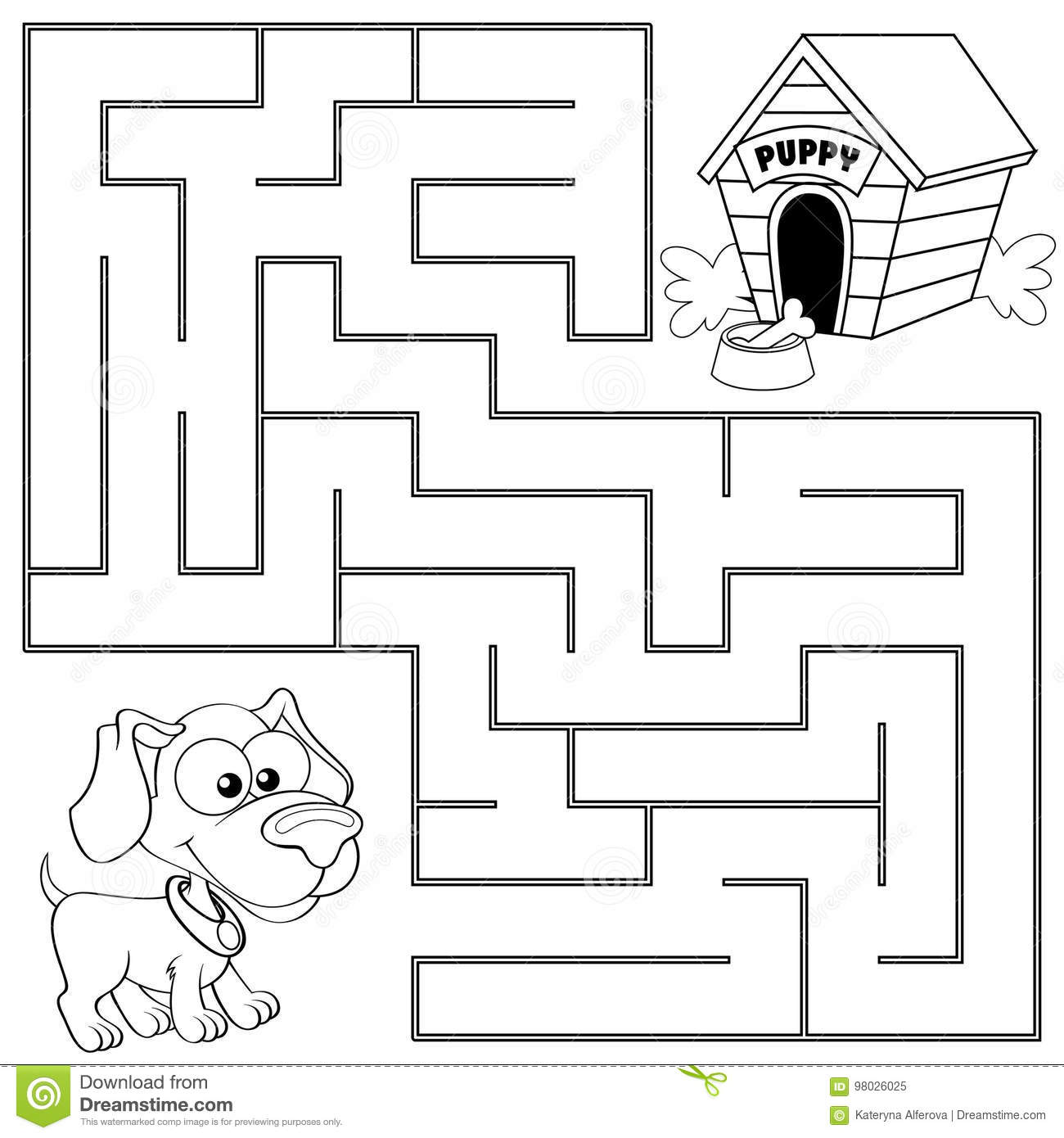 Help Puppy Find Path To His House Labyrinth Maze Game