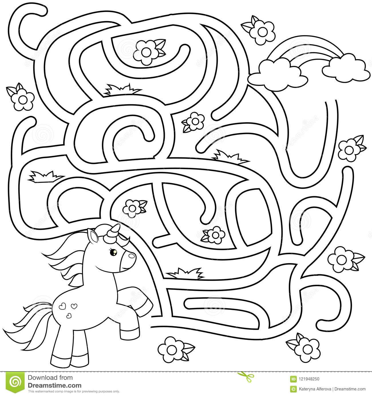 Help Unicorn Find Path To Rainbow. Labyrinth. Maze Game