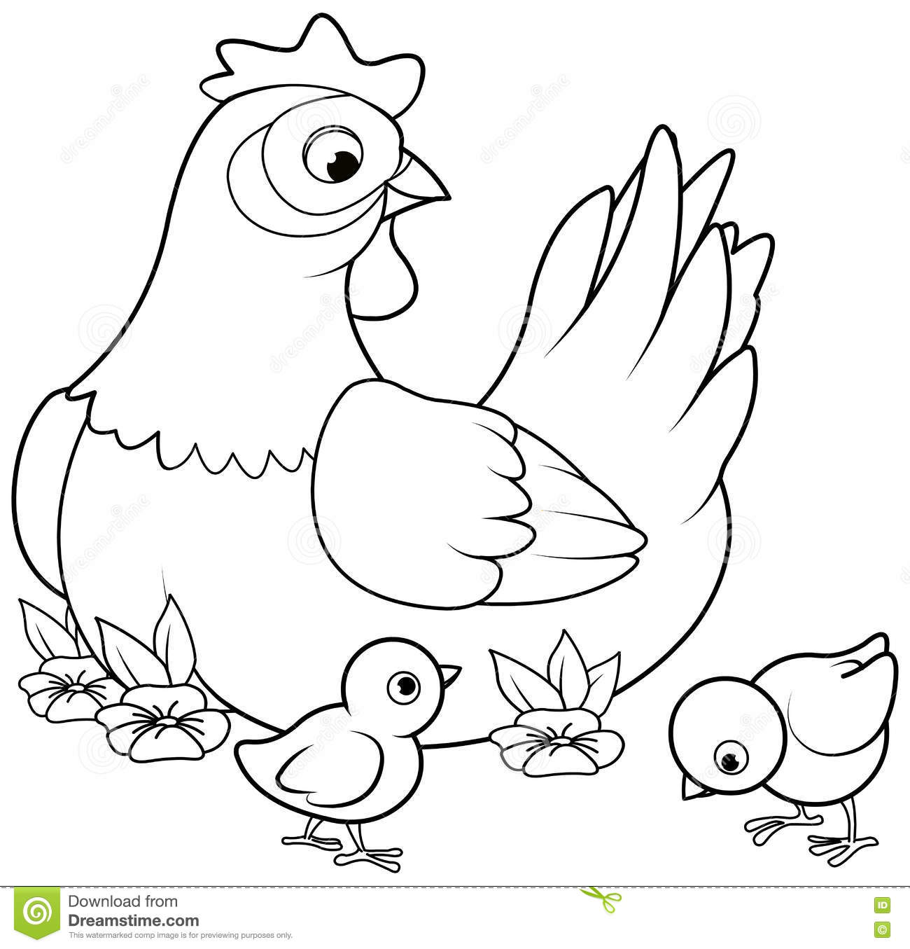 I Love Chicken Coloring Page Royalty Free Stock Photo