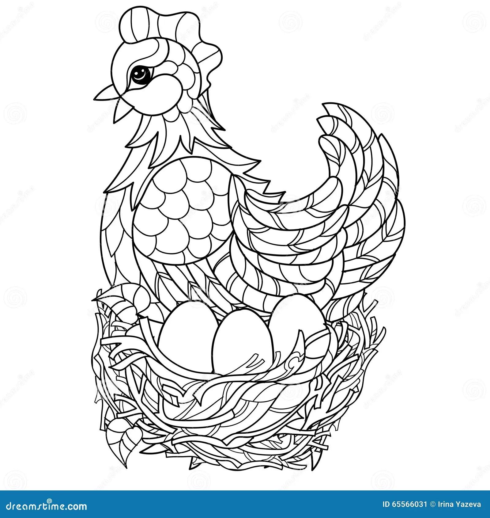 Hen. Hand Drawn Decorative Farm Animal Stock Vector