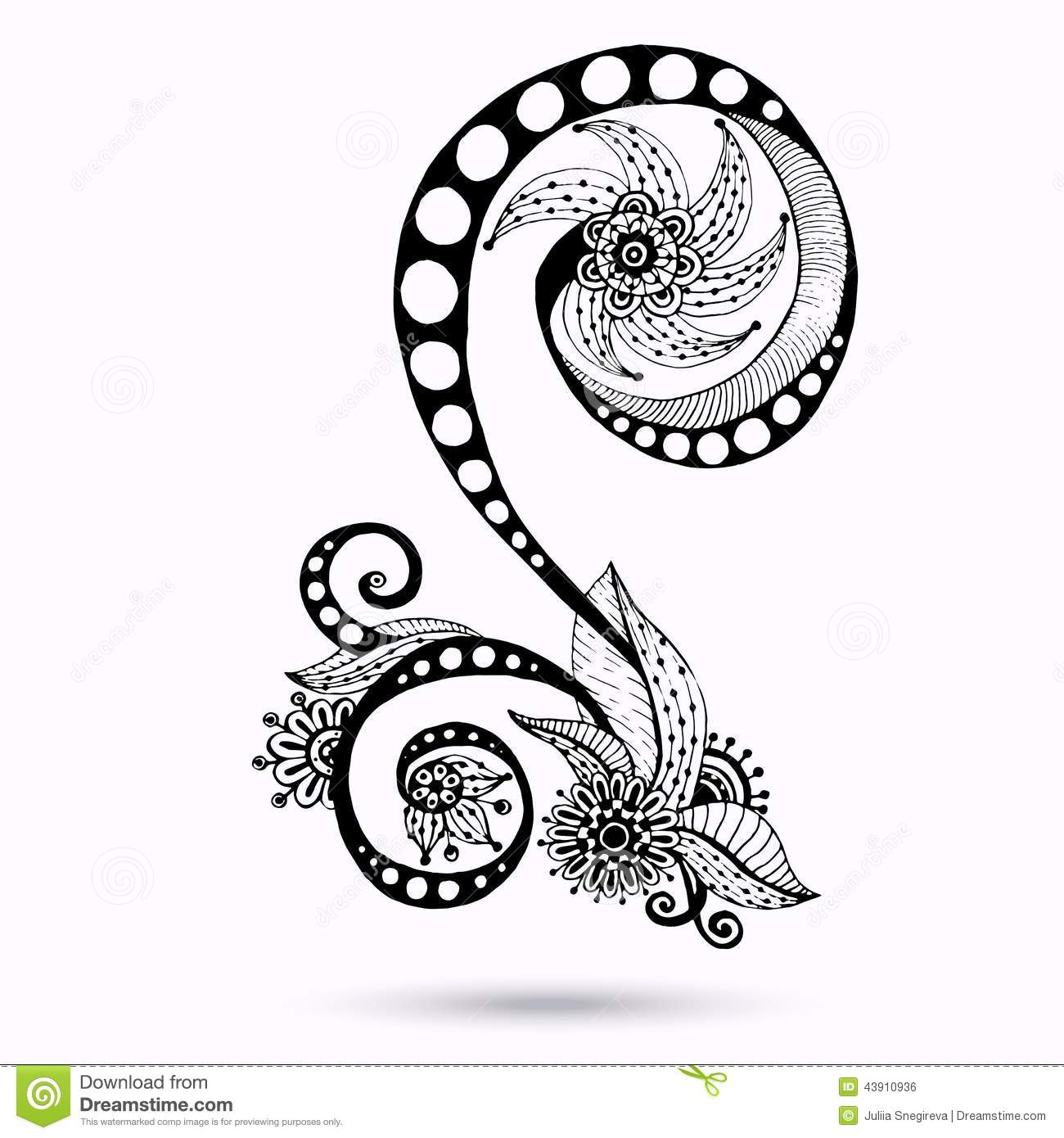 Henna Paisley Mehndi Doodles Design Element Stock Vector