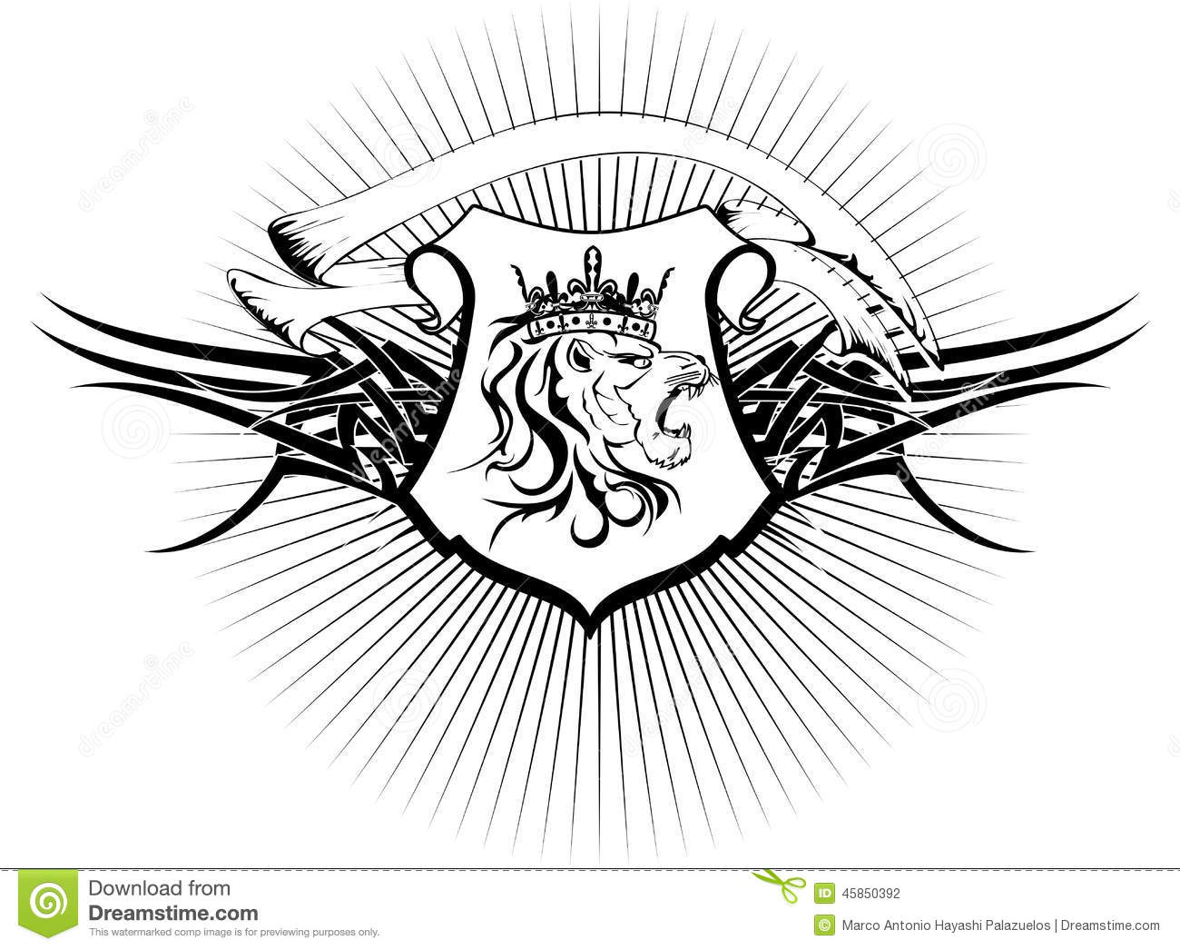 Heraldic Lion Head Coat Of Arms Tattoo6 Stock Vector