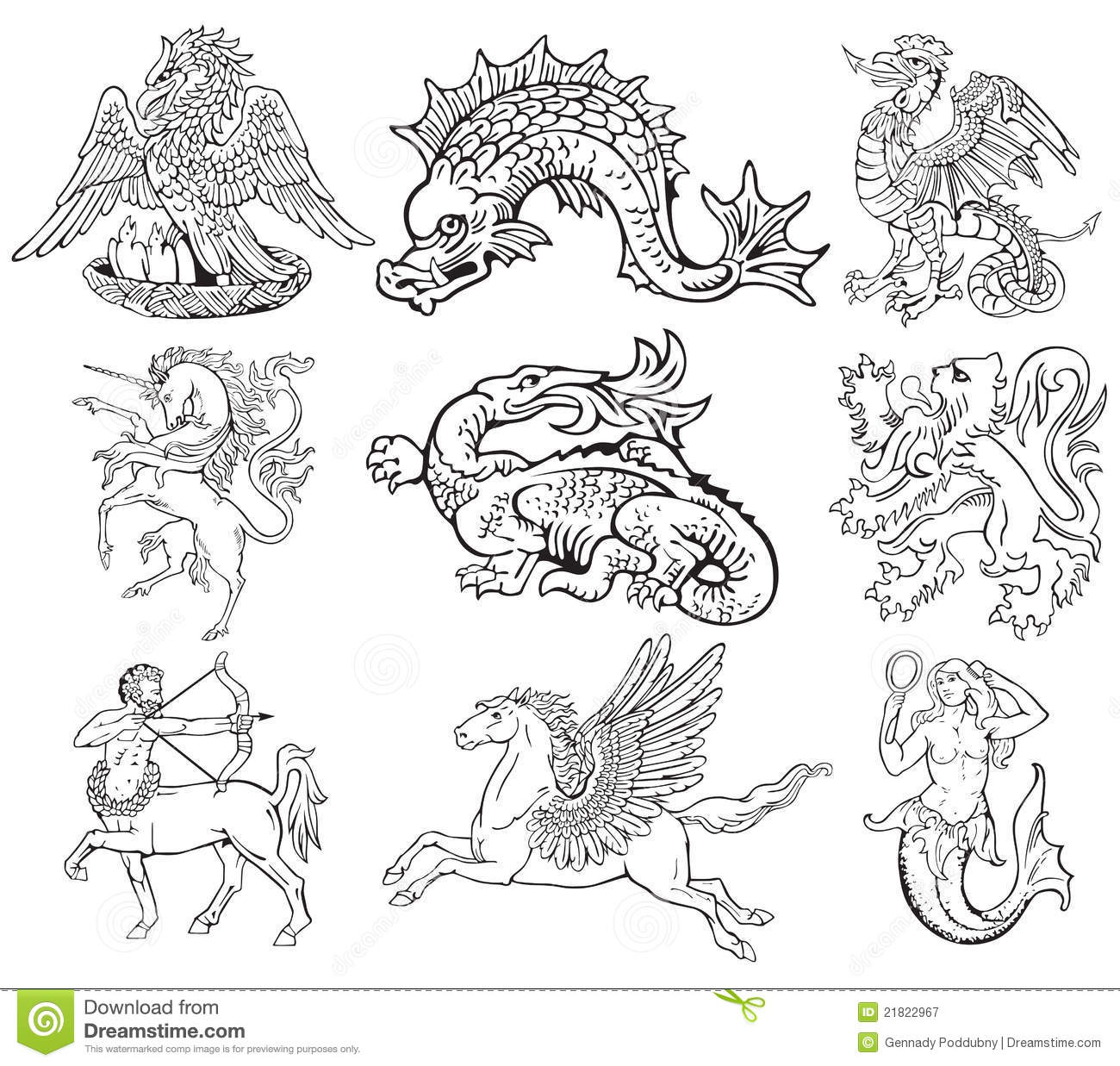 Heraldic Monsters Vol Vii Stock Vector Illustration Of
