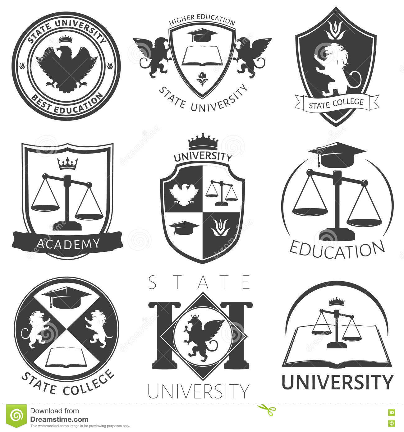 Heraldry Of University Black White Emblems Stock Vector