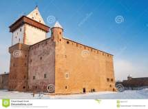 Herman Castle In Narva. Estonia. Winter Season Stock