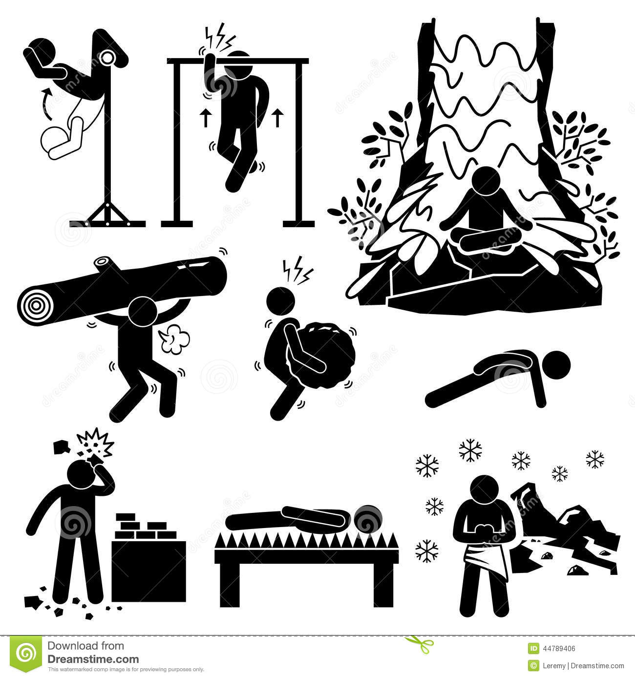Hermit Extreme Physical And Mental Training Cliparts Icons