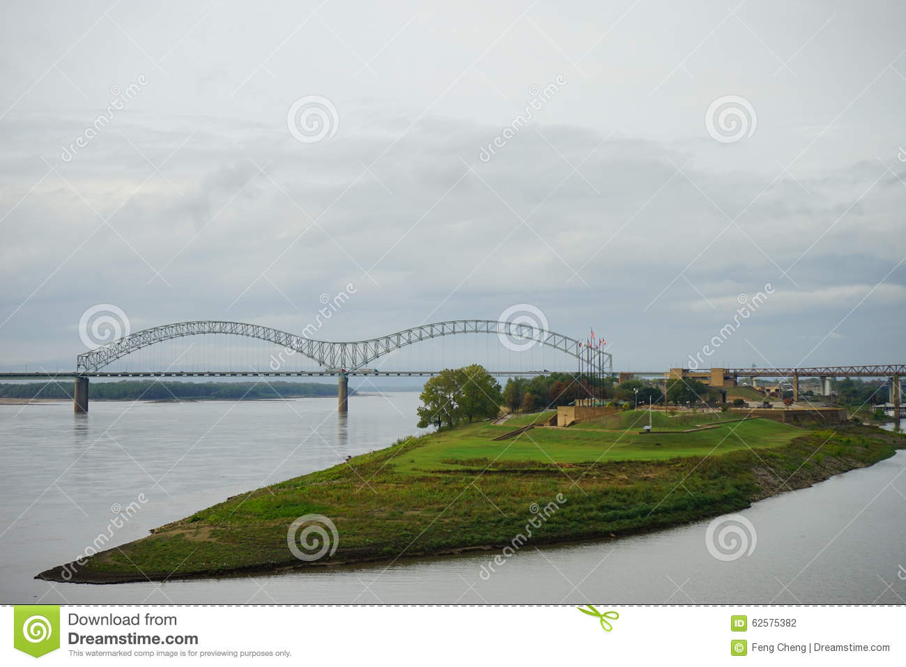 Hernando De Soto Bridge And Muddy Island Stock Photo