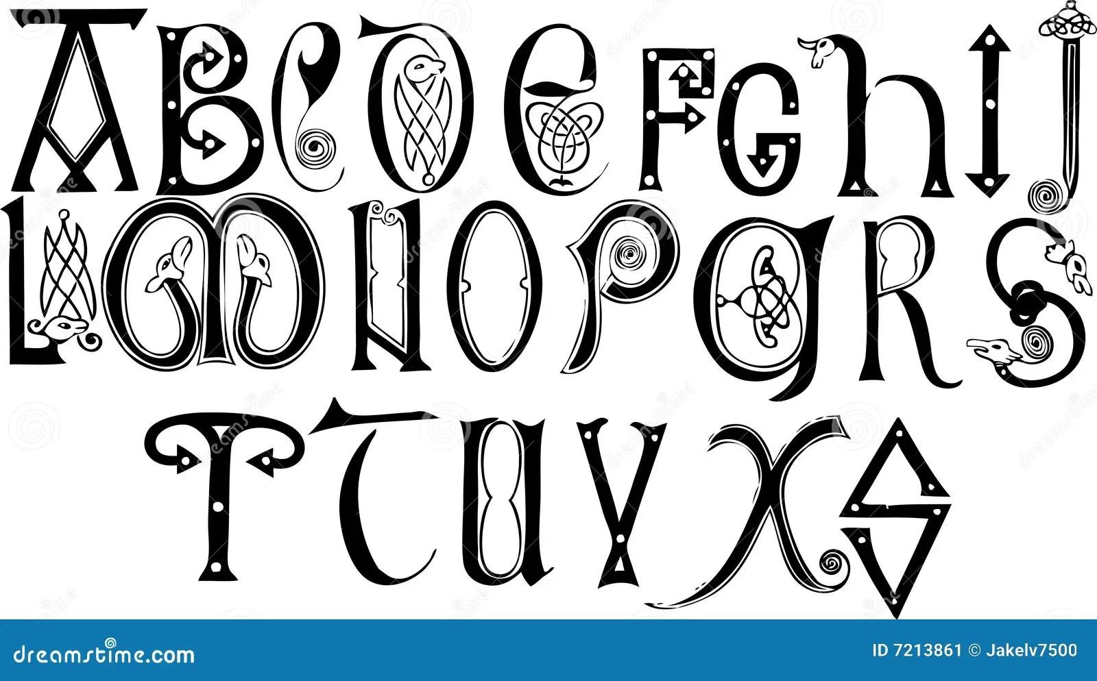Het Angelsaksische Alfabet Van De 8ste En 9de Eeuwen Stock