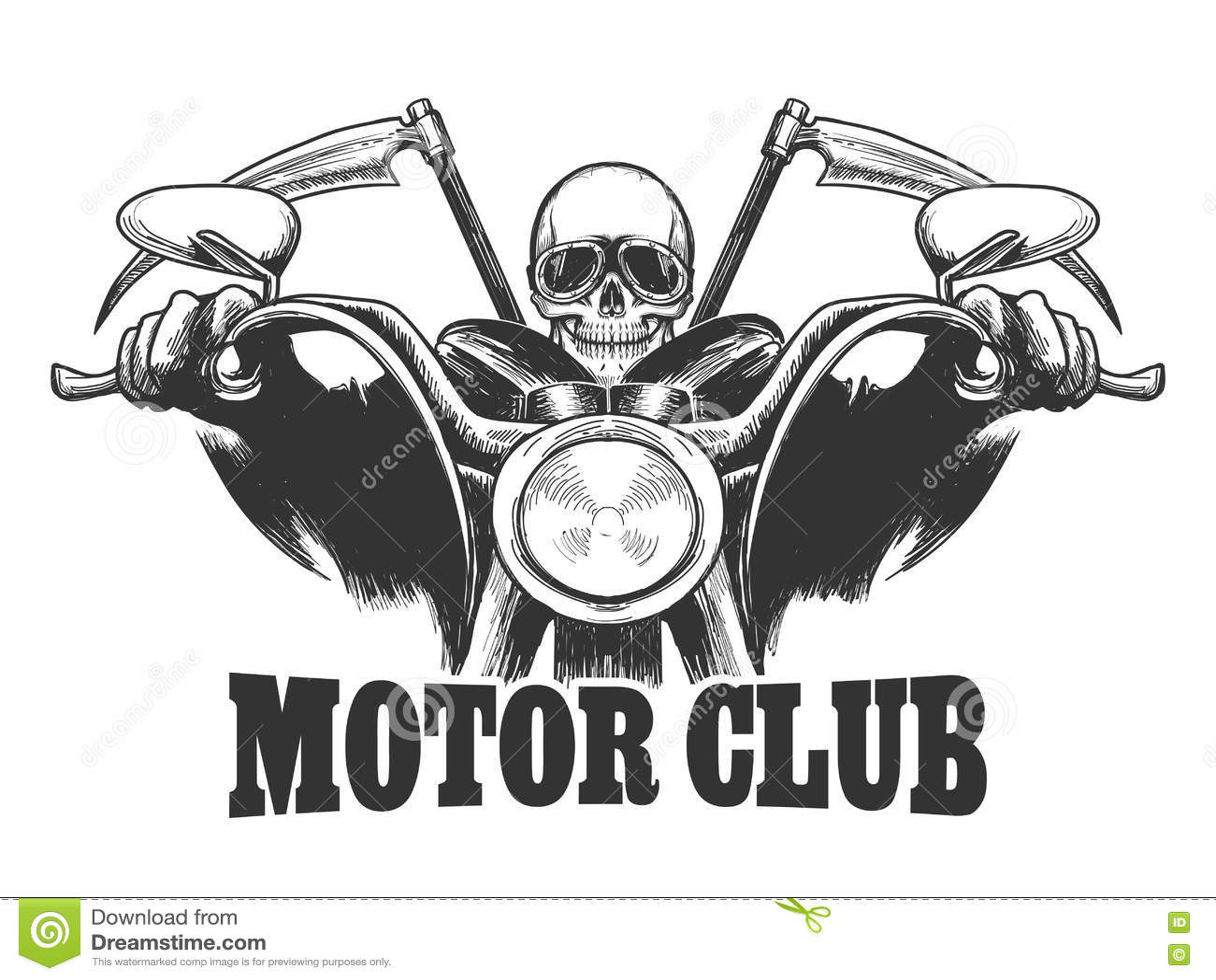 Het Embleemdood Van De Motorclub Op Een Motorfiets In
