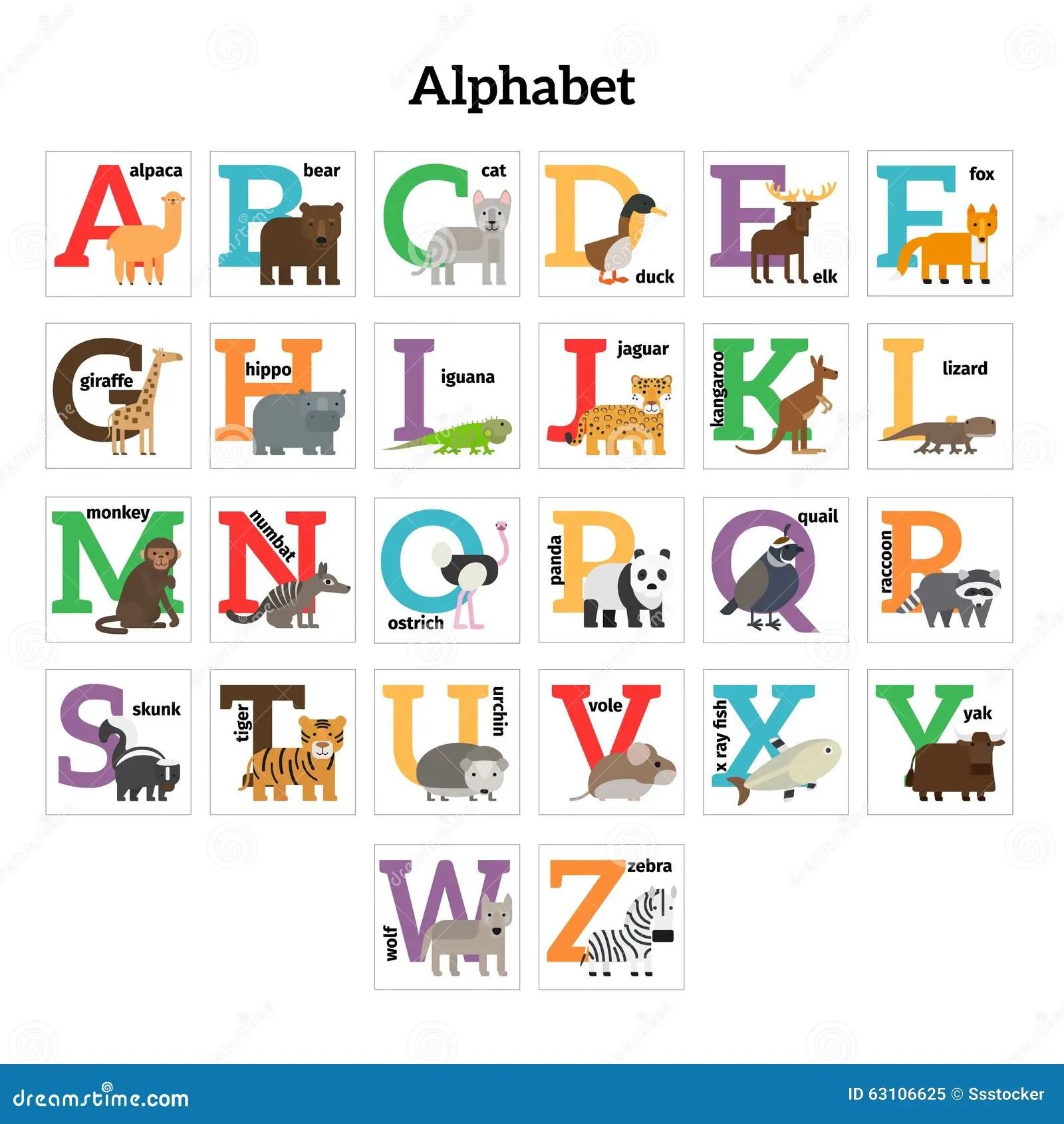 Het Engelse Alfabet Van Deren Rentuin Vector