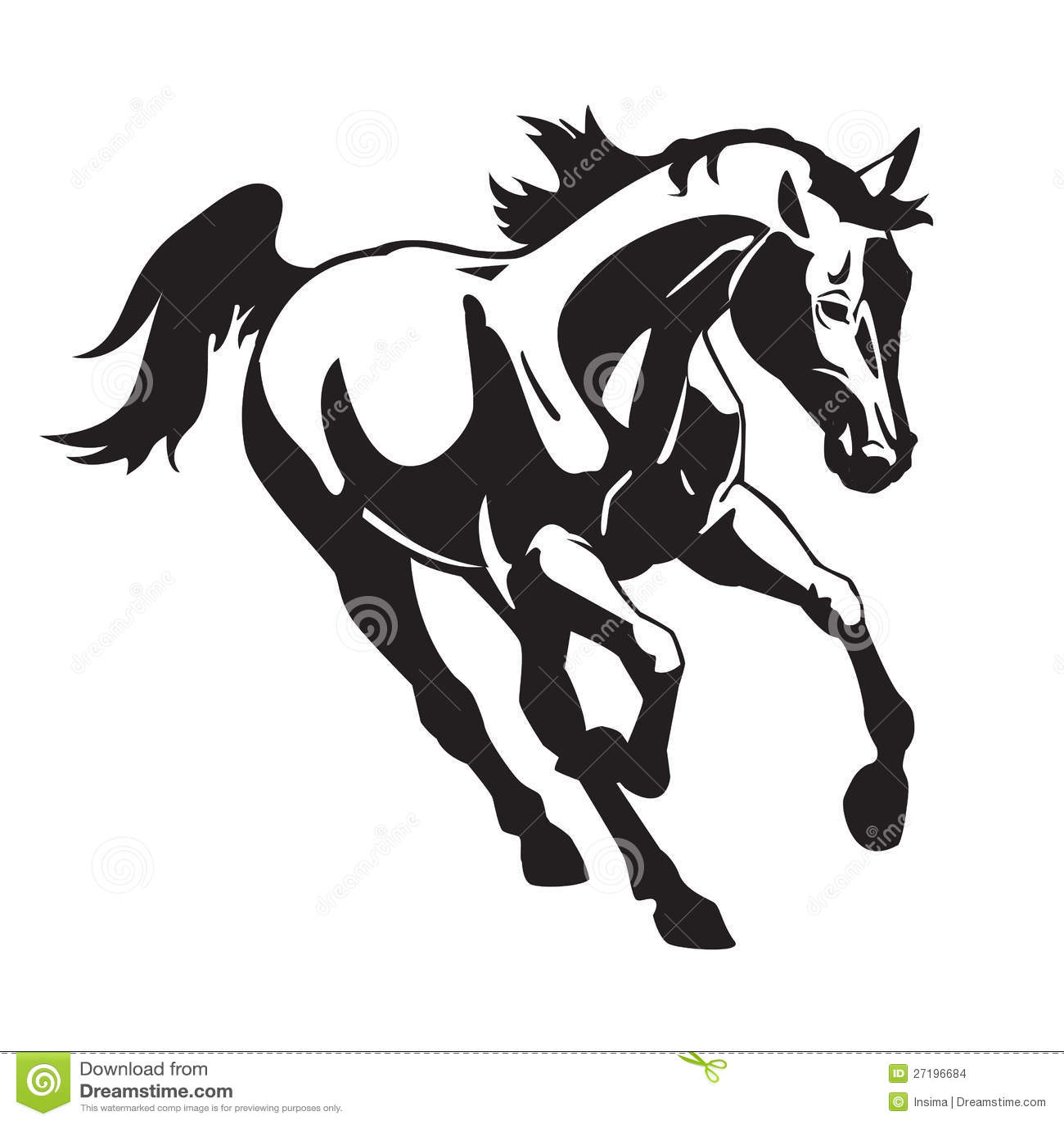 Het Lopen Zwart Wit Paard Vector Illustratie Illustratie