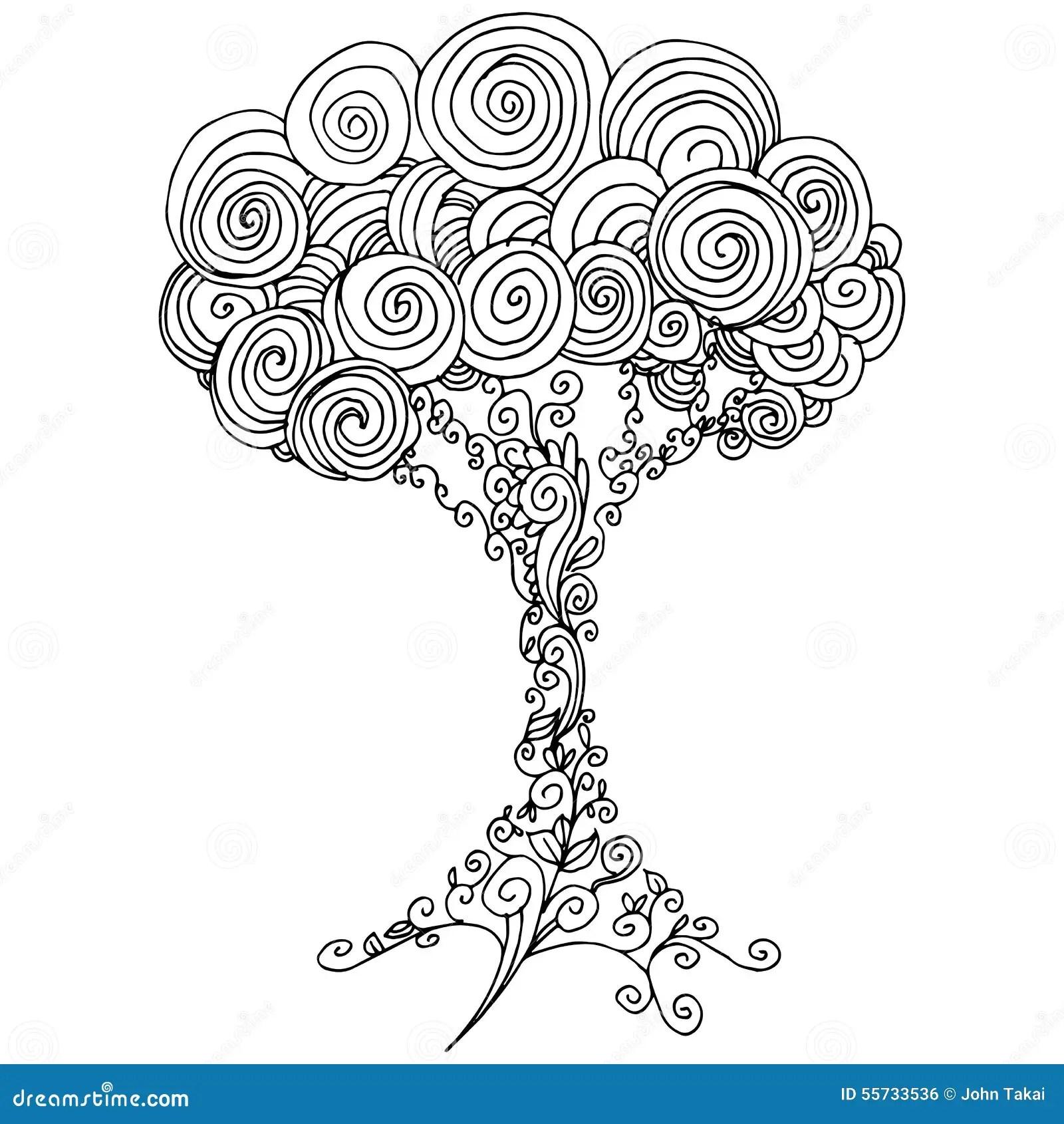 Het Overzicht Van De Zentangleboom Vector Illustratie