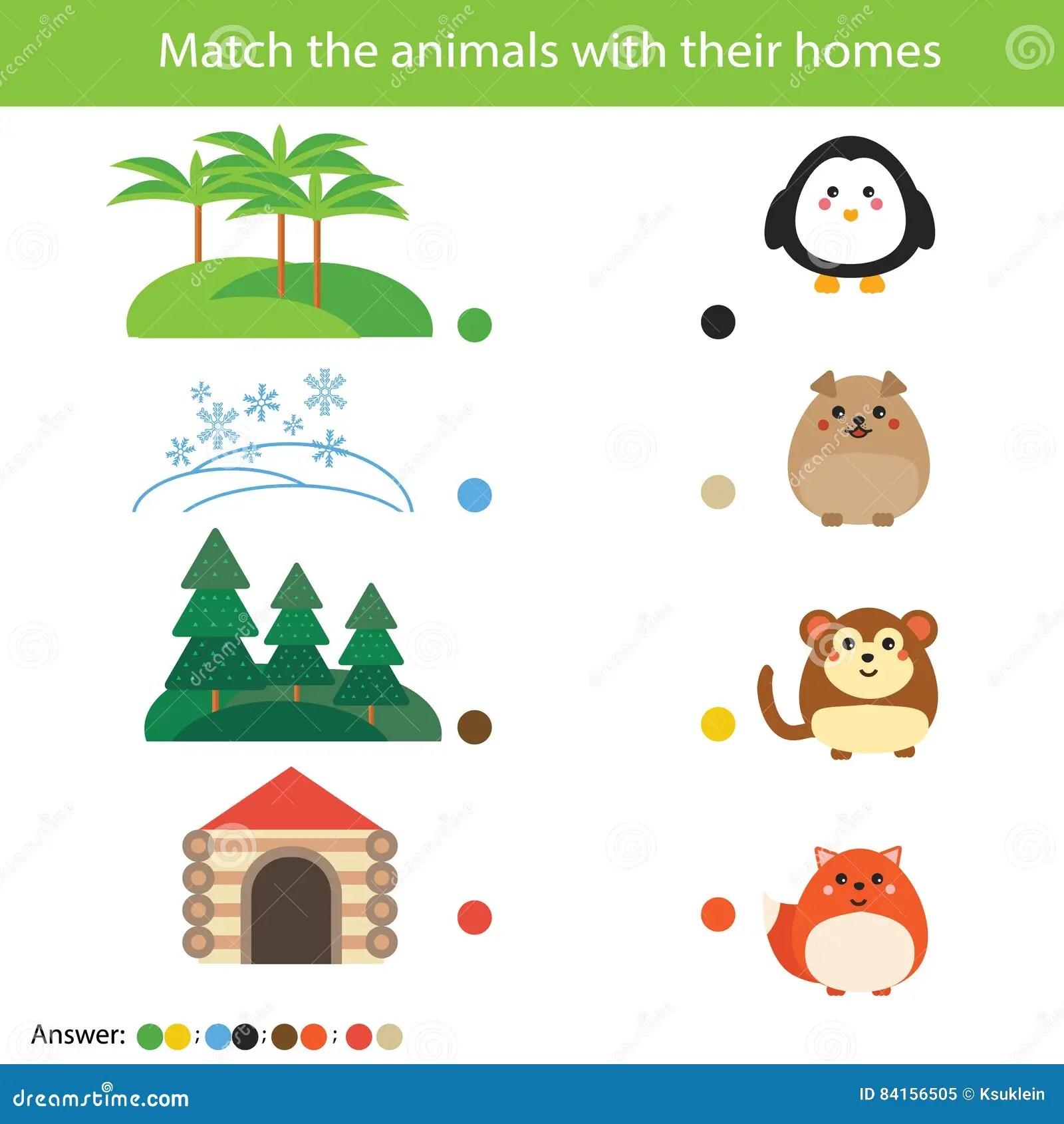 Het Passende Spel Van Het Kinderenonderwijs Gelijke Ren Met Hun Huizen Vector Illustratie